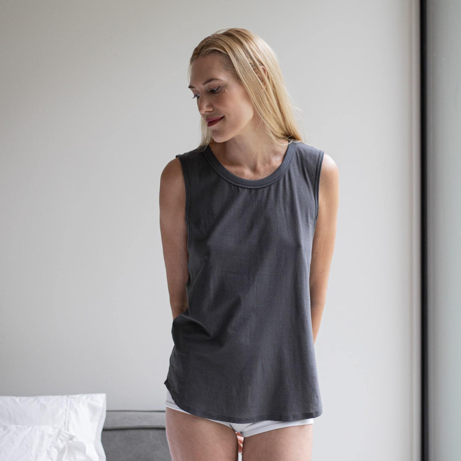 Lunya Sleepwear Cool Muscle Tee - #Eclipse