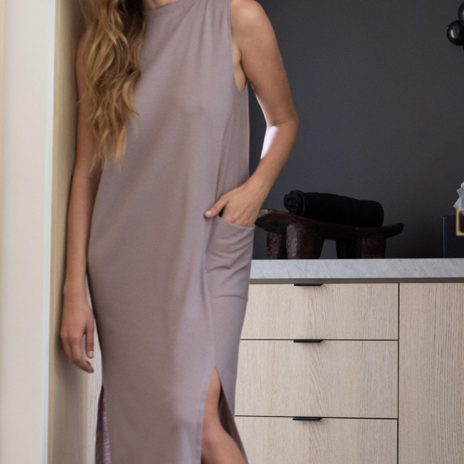 Lunya Sleepwear Cool Paneled Sleeveless Dress - #Mink