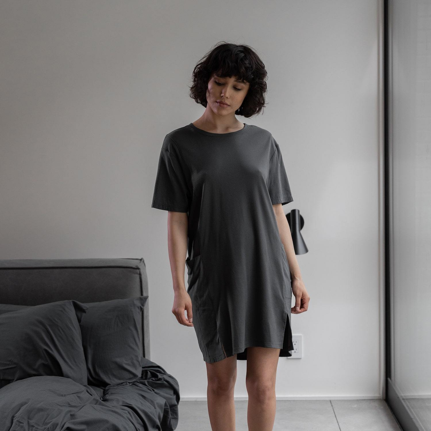 Lunya Sleepwear Cool Paneled Short Dress - #Eclipse