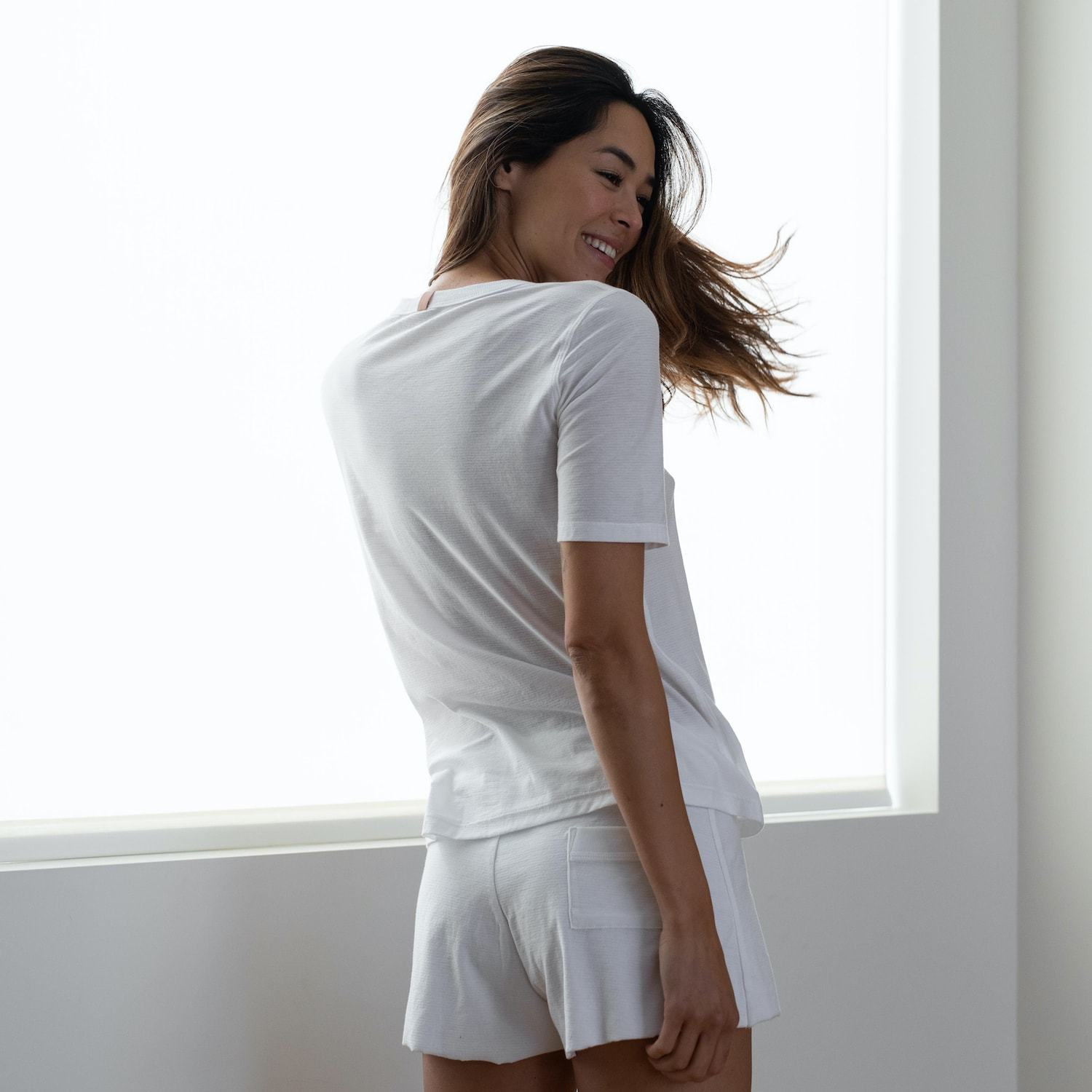 Lunya Sleepwear Cool Short Sleeve Tee - #White