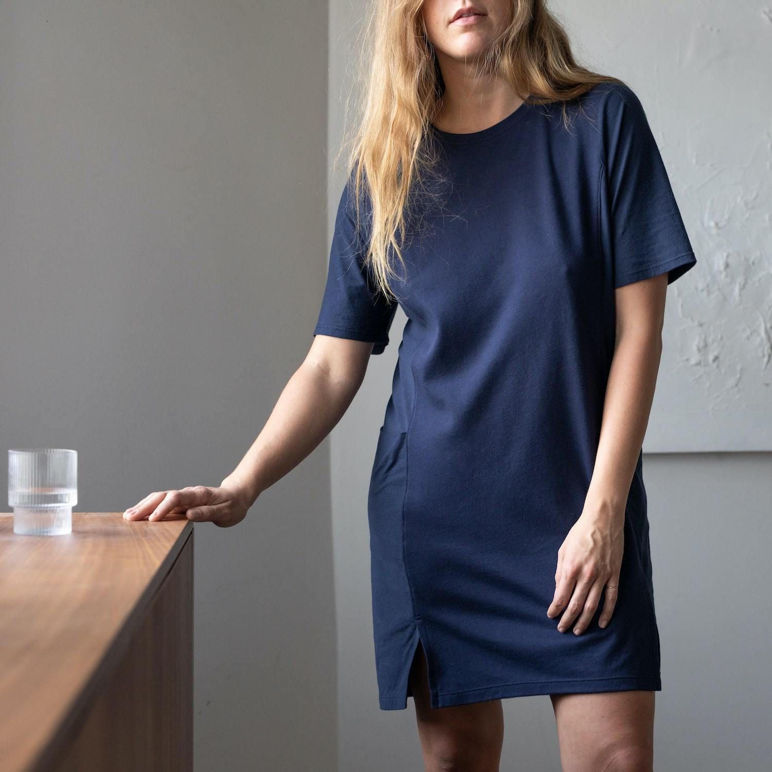 Lunya Sleepwear Cool Paneled Short Dress - #Deep Night