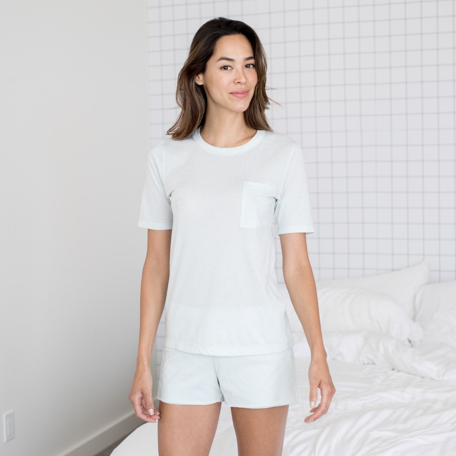 Lunya Sleepwear Cool Short Sleeve Tee - #Brisk