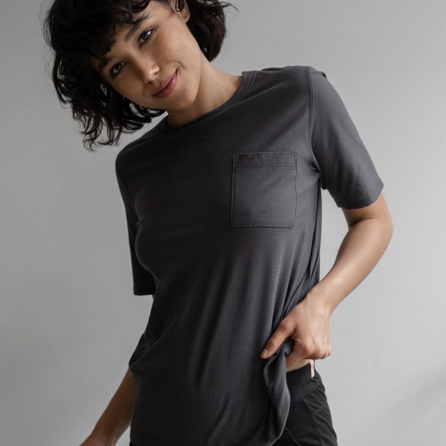 Lunya Sleepwear Cool Short Sleeve Tee - #Eclipse