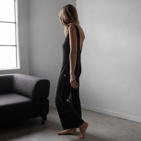 Lunya Sleepwear Cozy Pima Alpaca Jumpsuit - #Heather Charcoal
