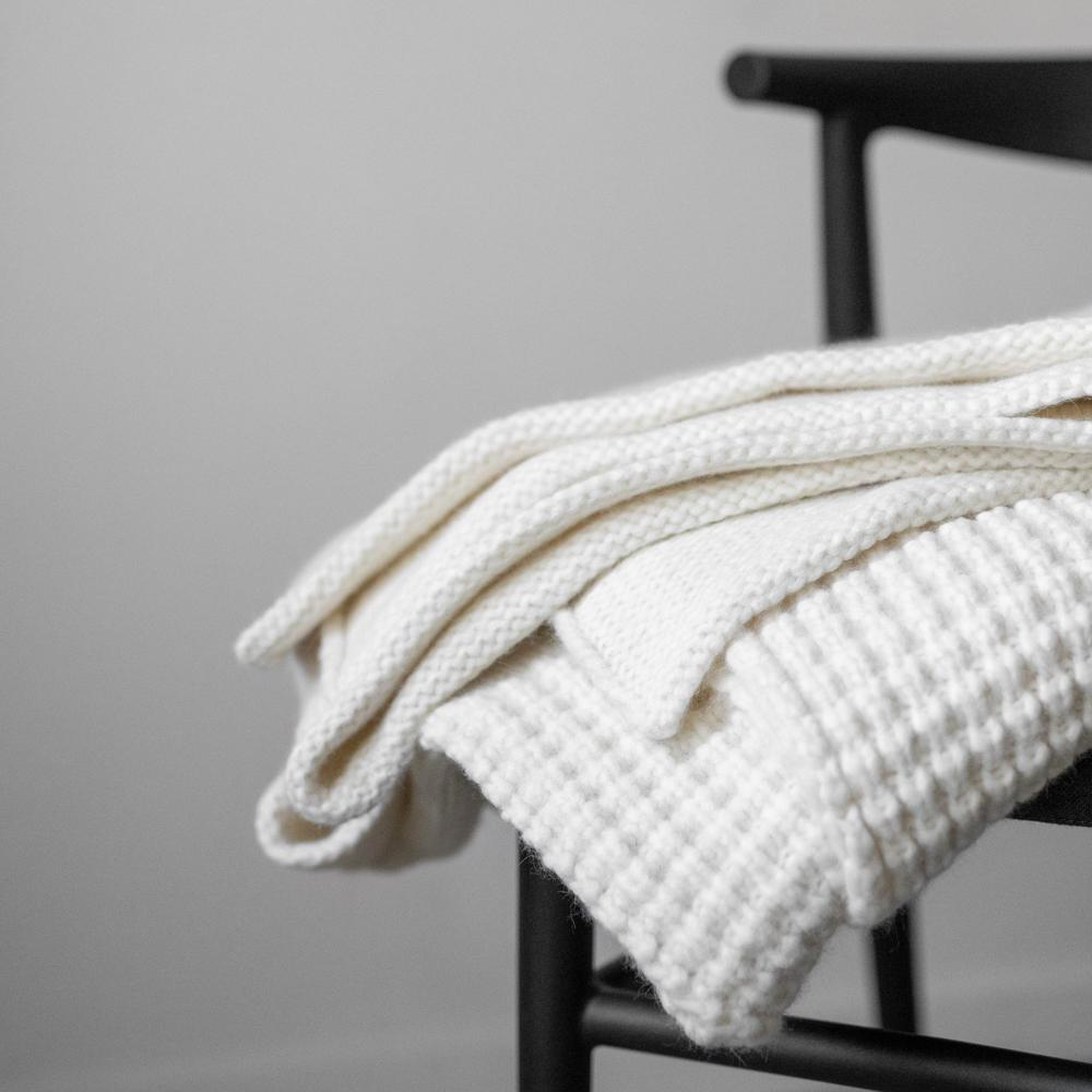 Lunya Sleepwear Cozy Alpaca Knit Blanket - #Powder