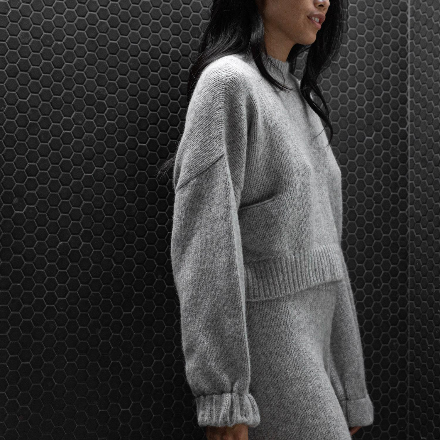 Lunya Sleepwear Cozy Alpaca Knit Pullover - #Heather Grey