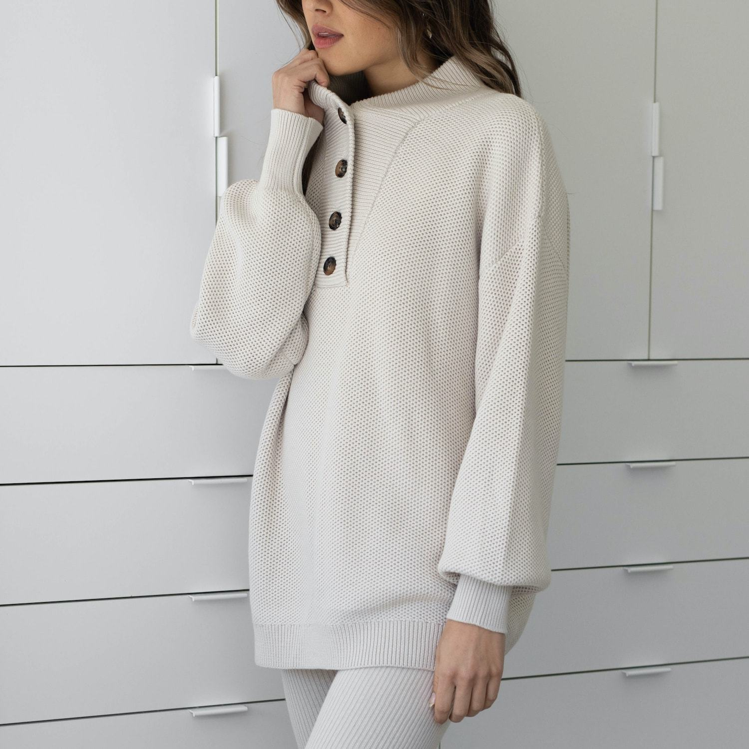 Lunya Sleepwear Cozy Cotton Silk Henley - #Canvas
