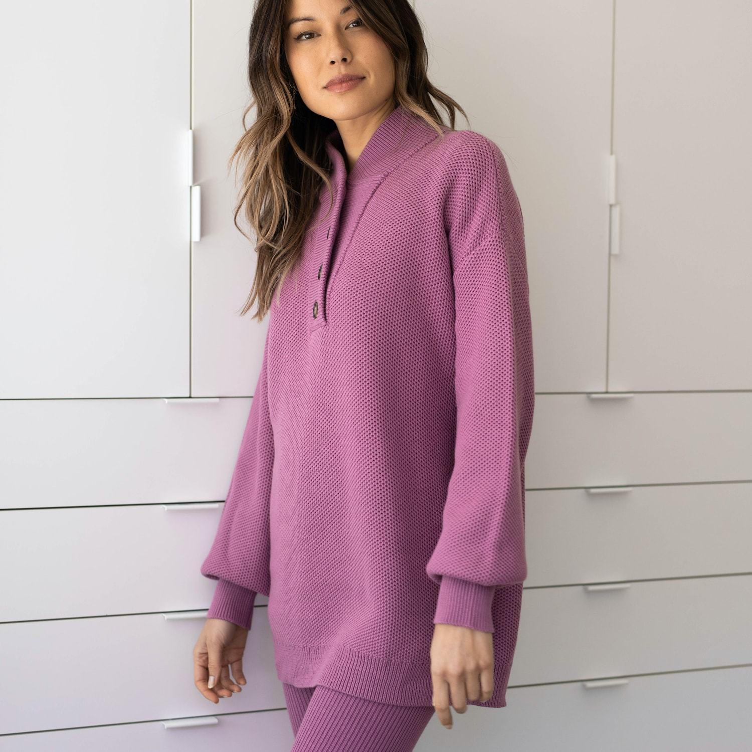 Lunya Sleepwear Cozy Cotton Silk Henley - #Dusk