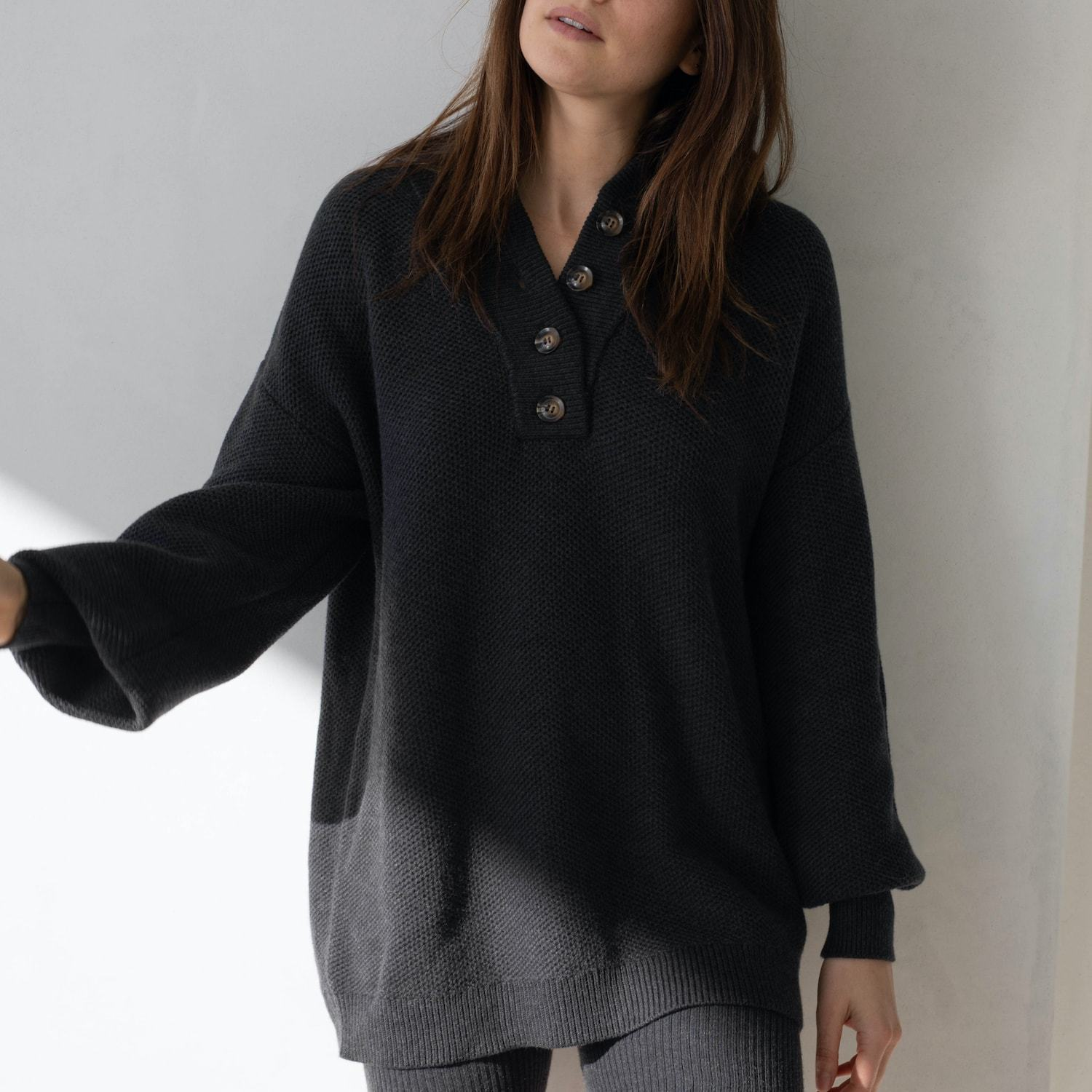 Lunya Sleepwear Cozy Cotton Silk Henley - #Onyx