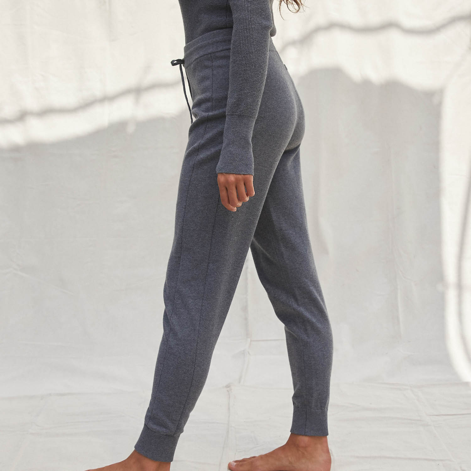 Lunya Sleepwear Cozy Cotton Silk Jogger - #Shadow