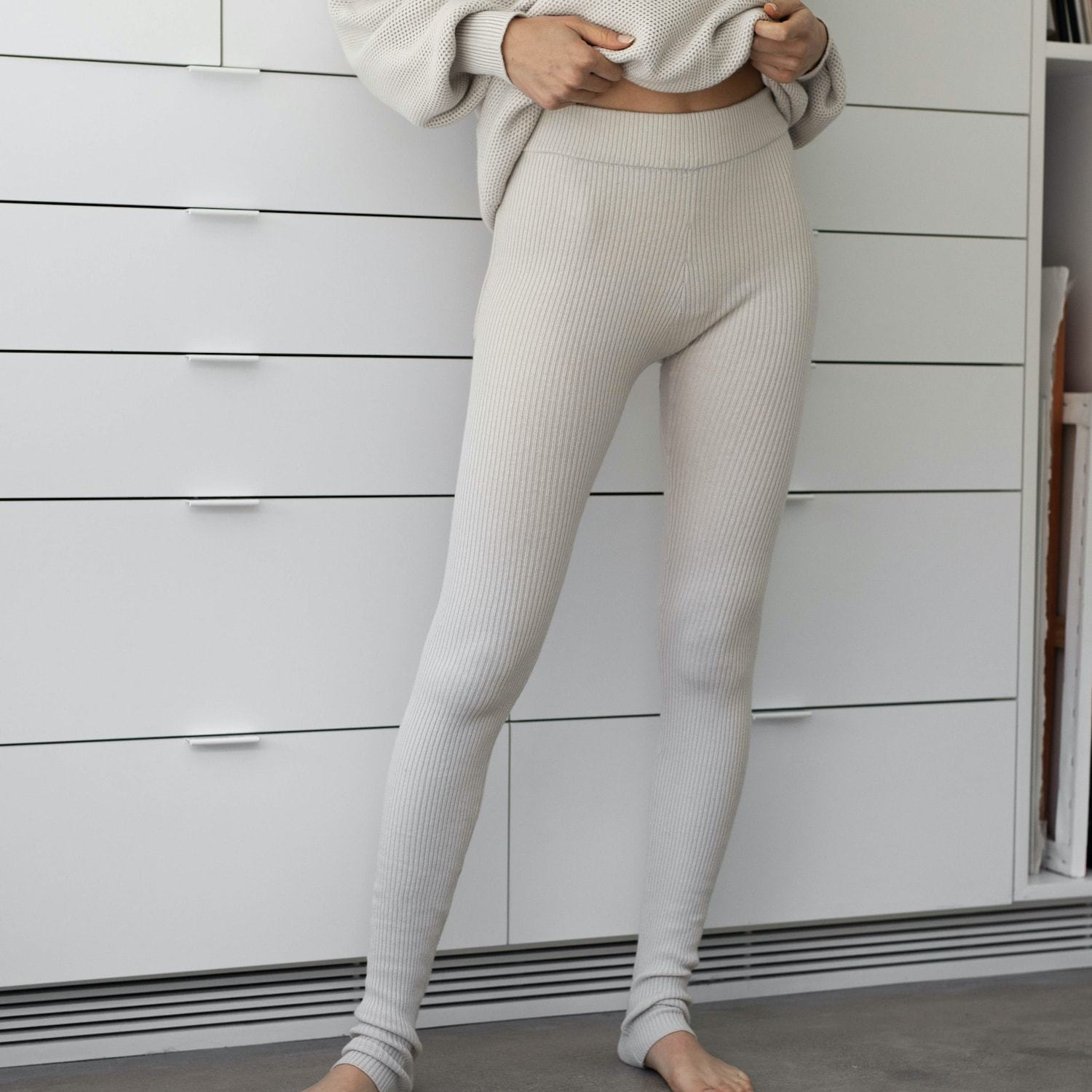 Lunya Sleepwear Cozy Cotton Silk Legging - #Canvas