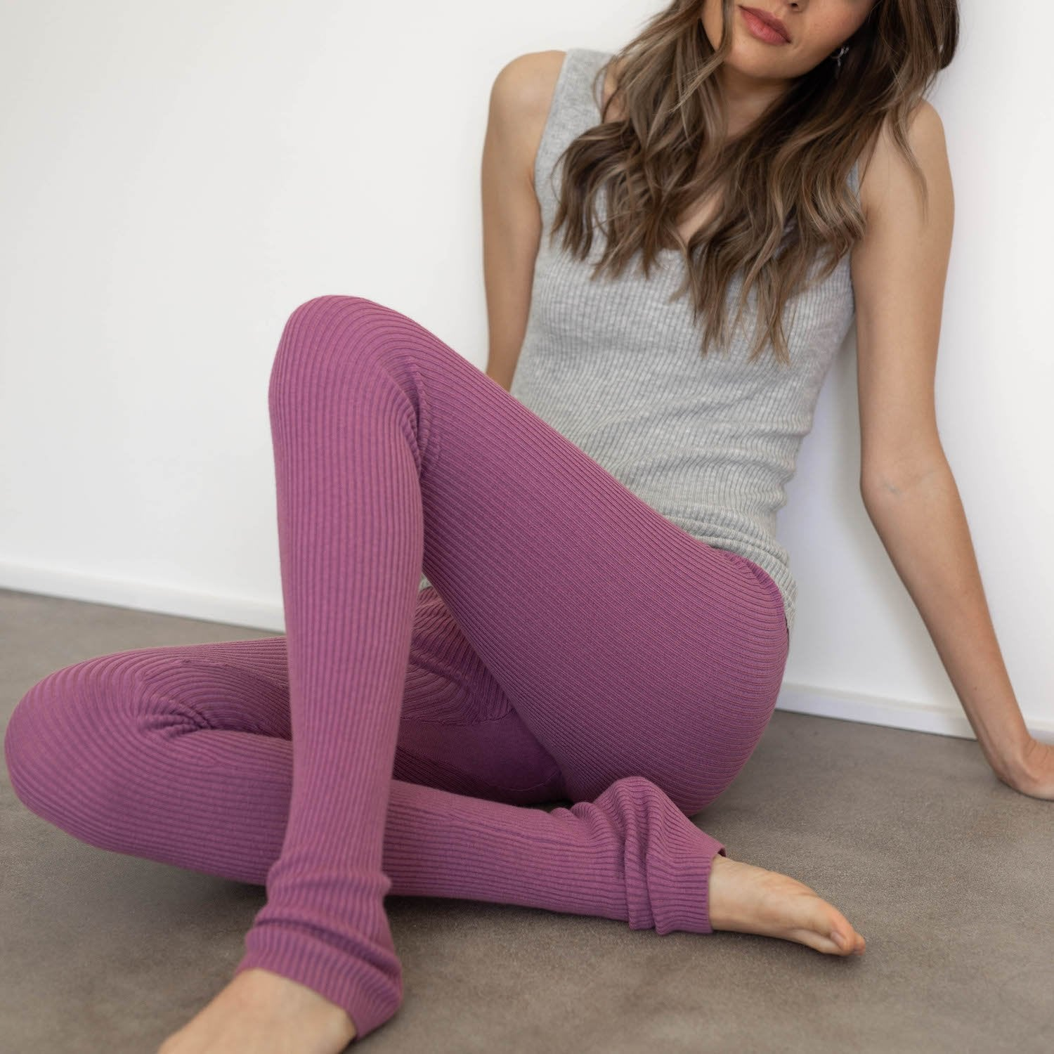 Lunya Sleepwear Cozy Cotton Silk Legging - #Dusk