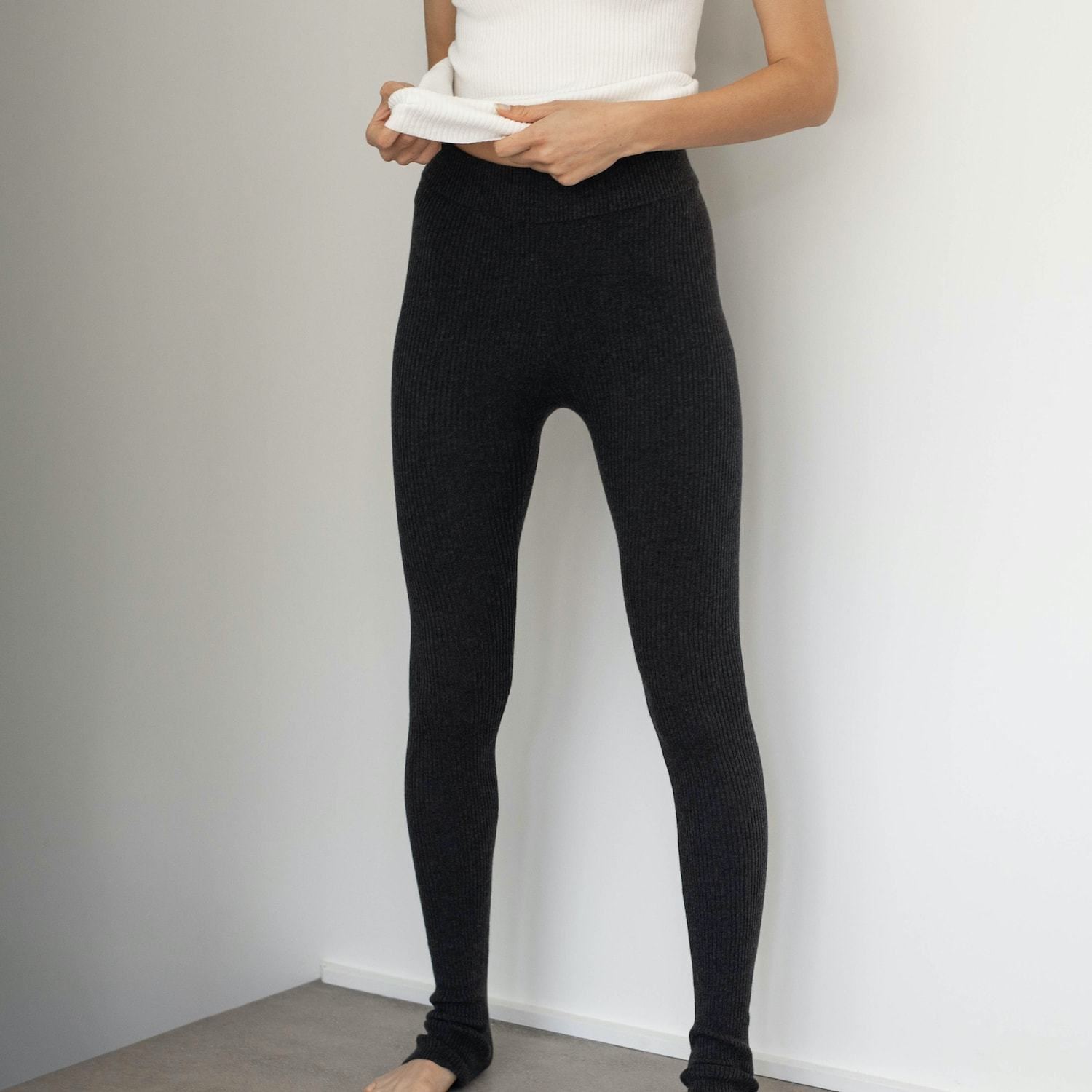 Lunya Sleepwear Cozy Cotton Silk Legging - #Onyx