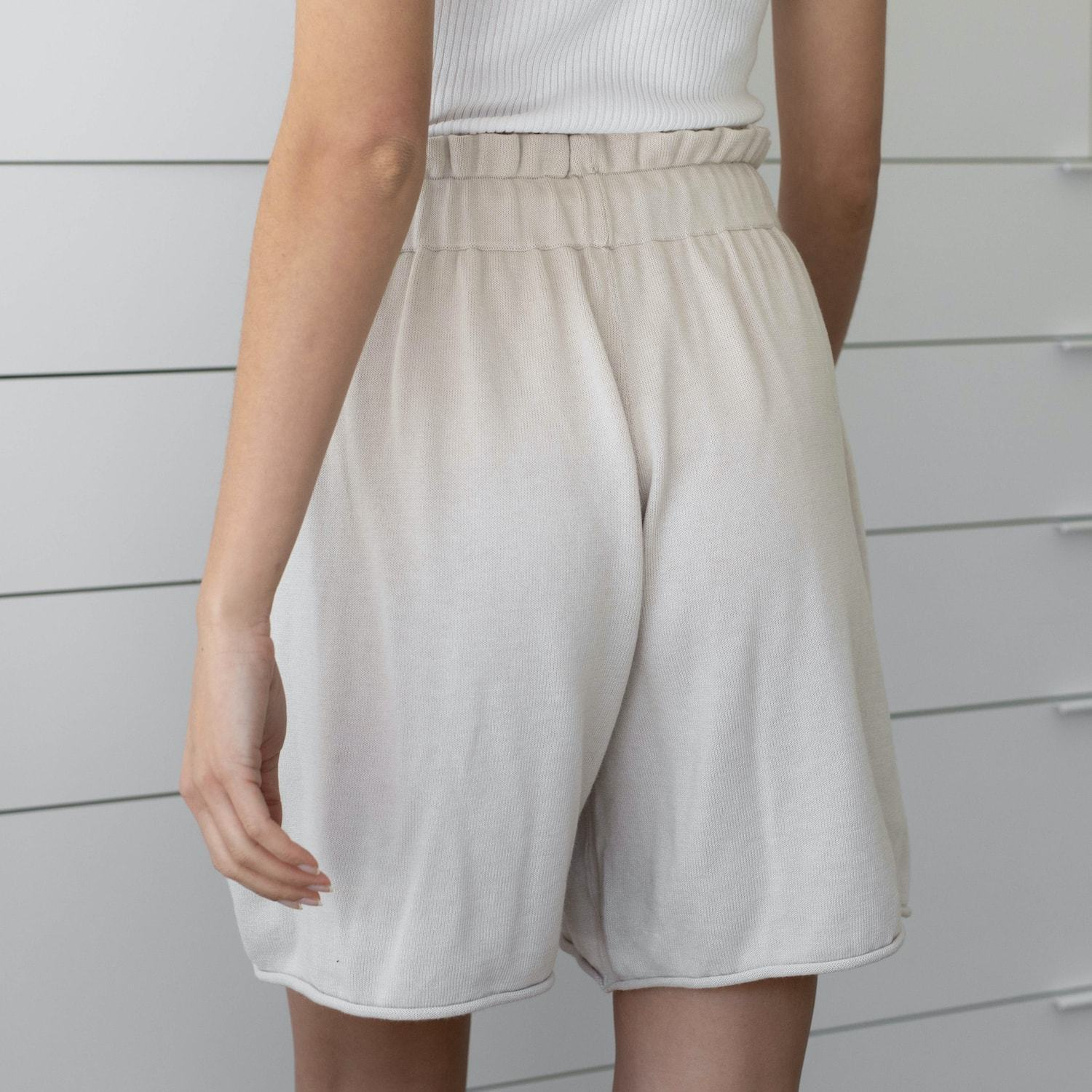Lunya Sleepwear Cozy Cotton Silk Relaxed Short - #Canvas