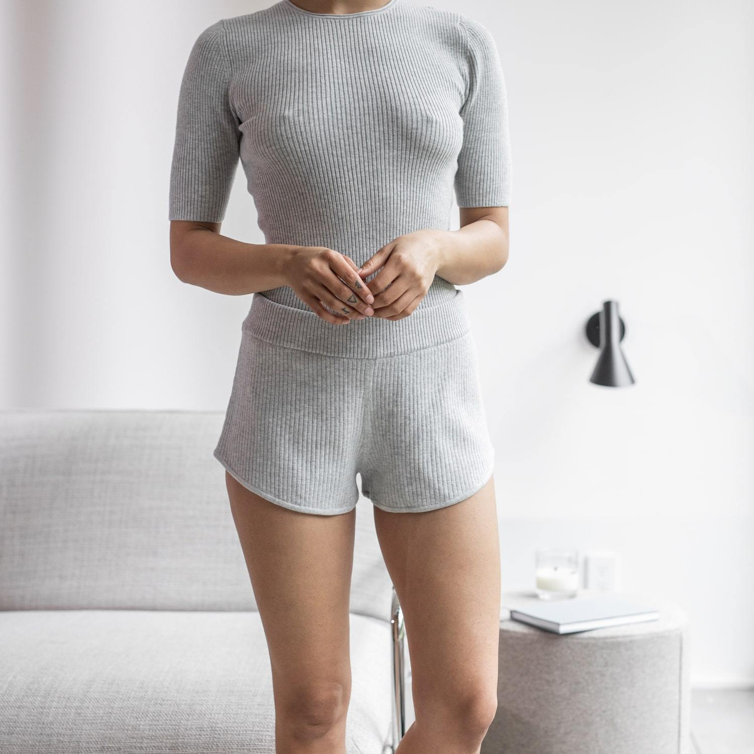 Lunya Sleepwear Cozy Cotton Silk Short - #Chroma