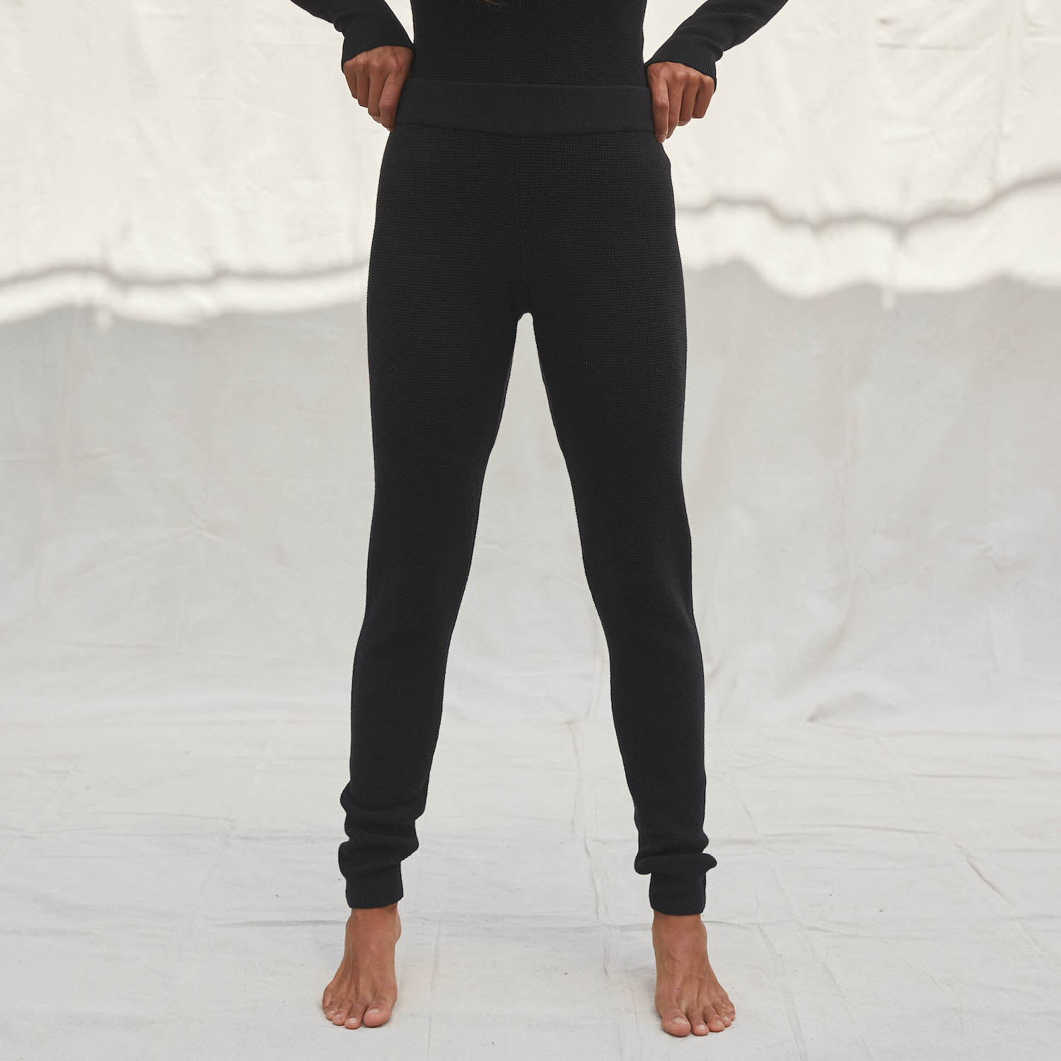 Lunya Sleepwear Cozy Cotton Silk Waffle Slim Pant - #Black