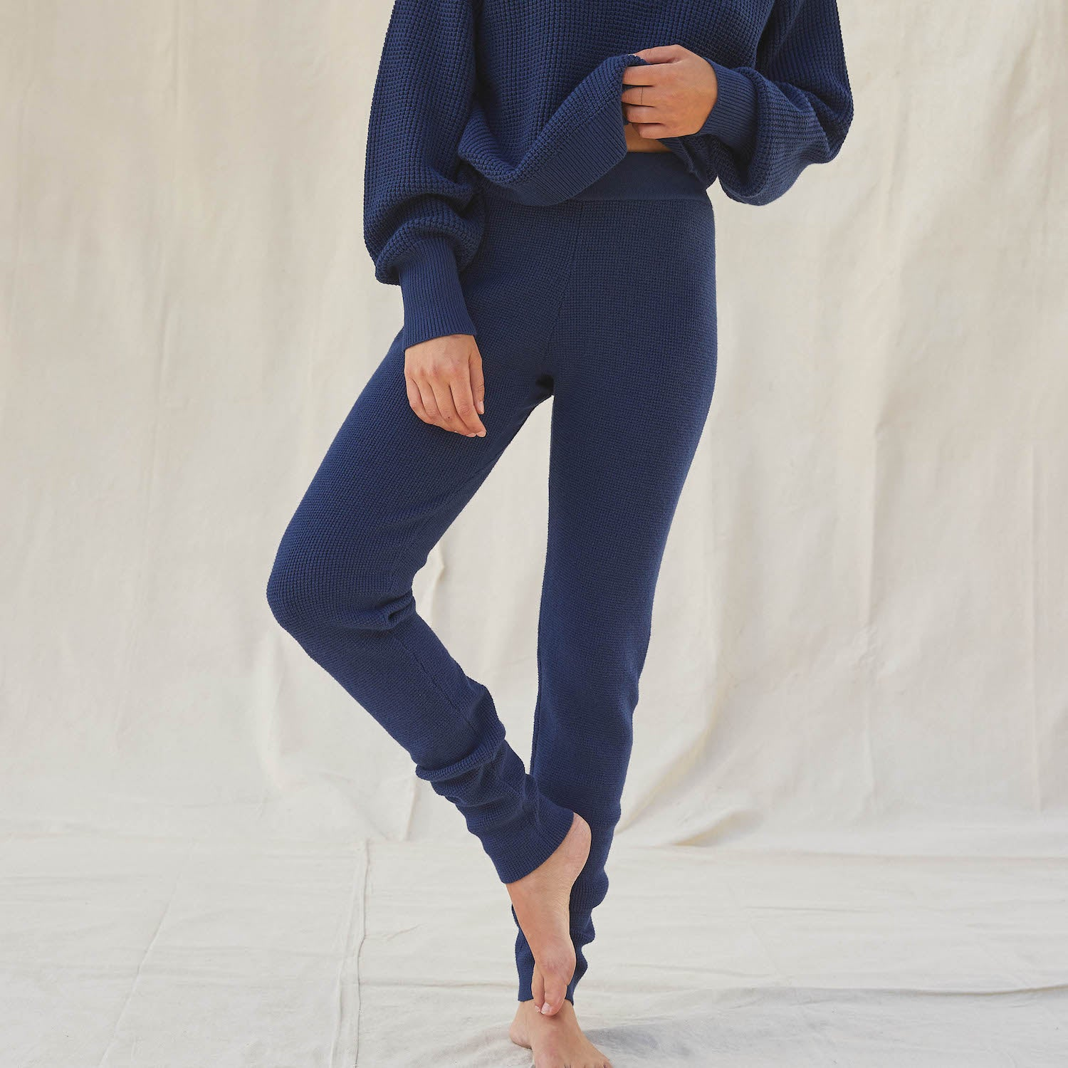 Lunya Sleepwear Cozy Cotton Silk Waffle Slim Pant - #Deep Night