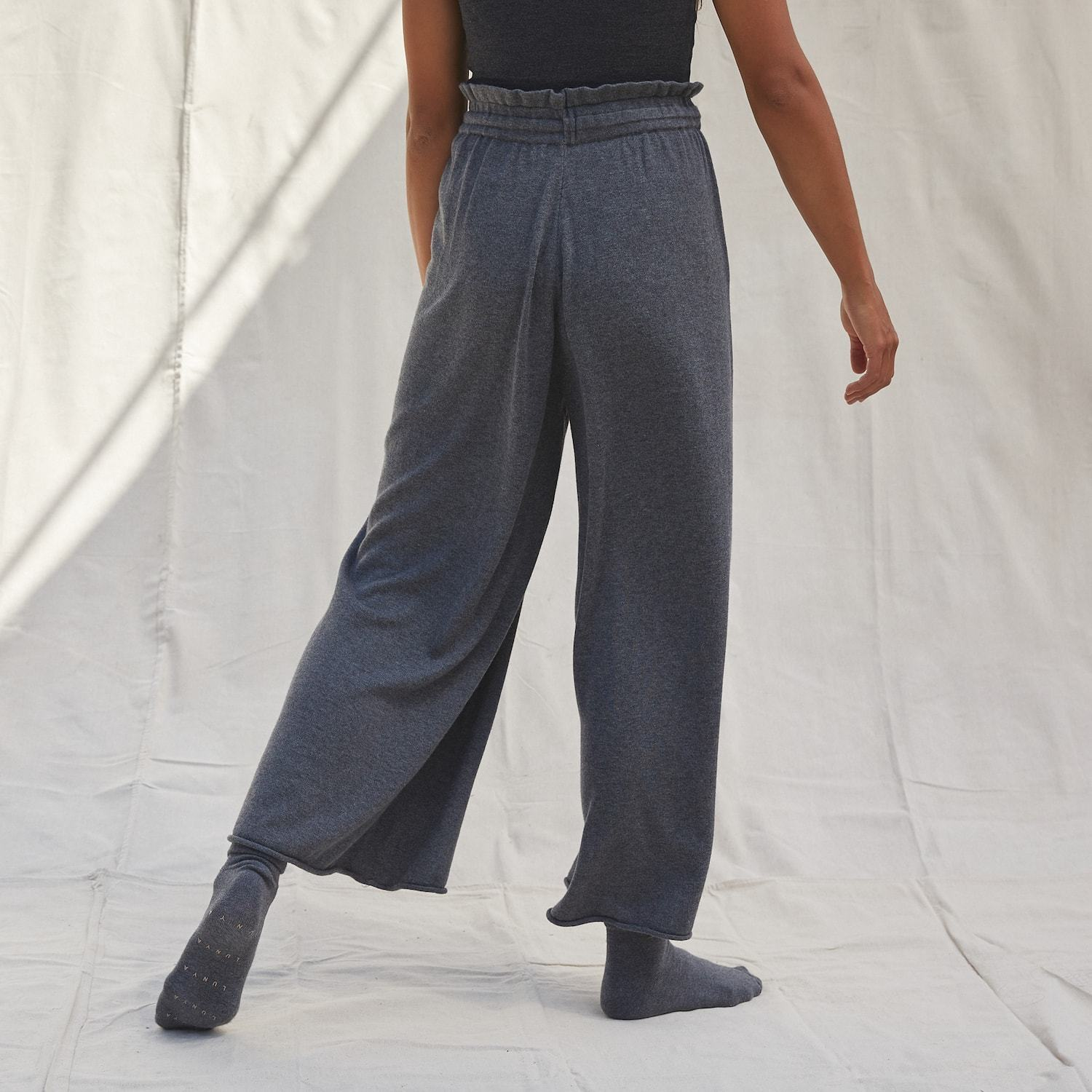 Lunya Sleepwear Cozy Cotton Silk Ankle Pant - #Shadow