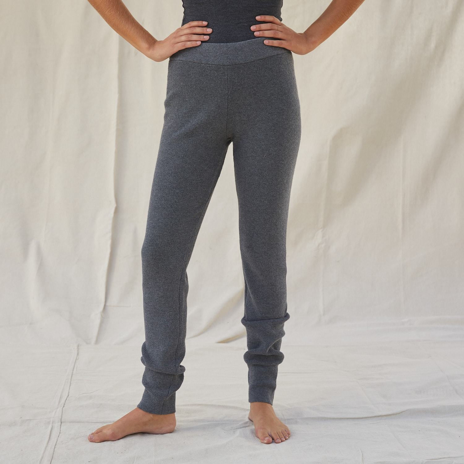 Lunya Sleepwear Cozy Cotton Silk Waffle Slim Pant - #Shadow