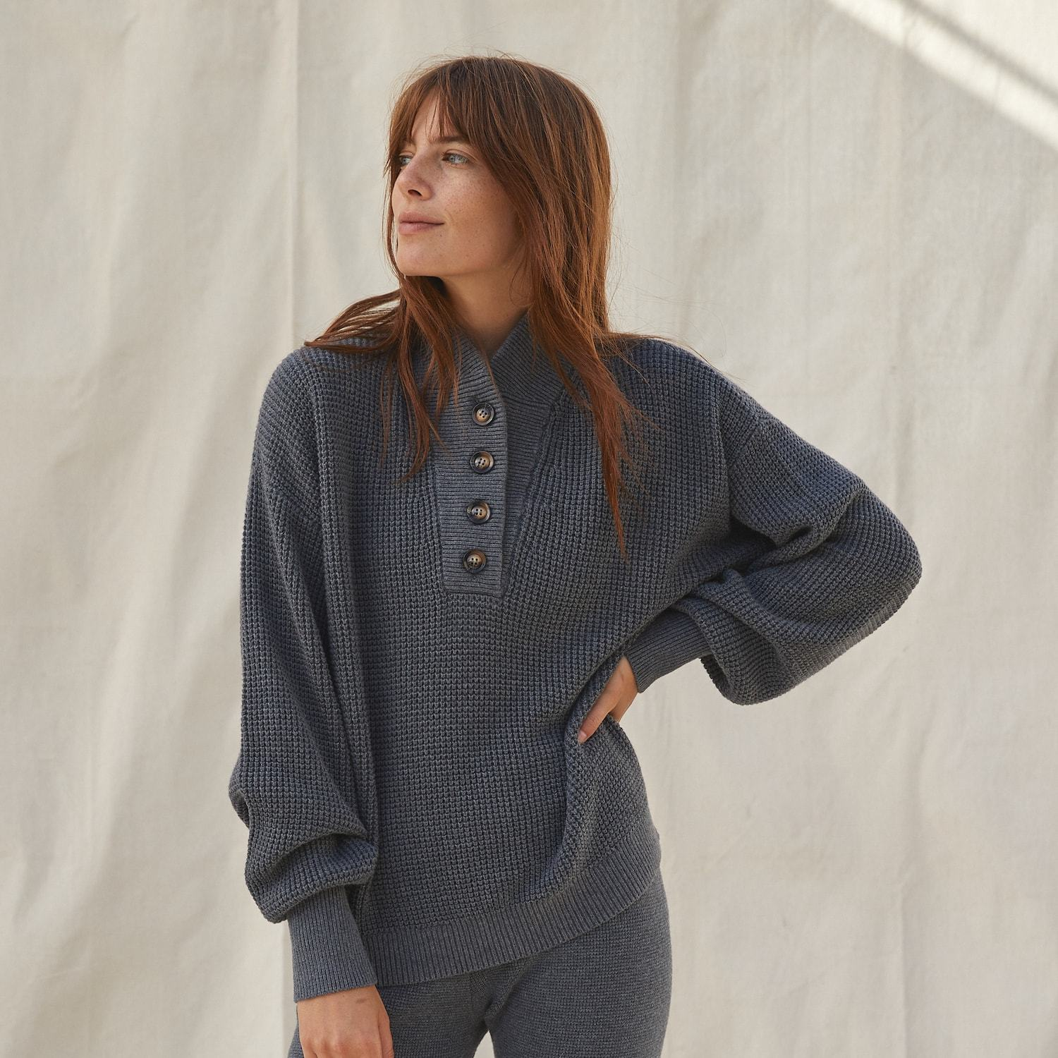 Lunya Sleepwear Cozy Cotton Silk Waffle Henley - #Shadow