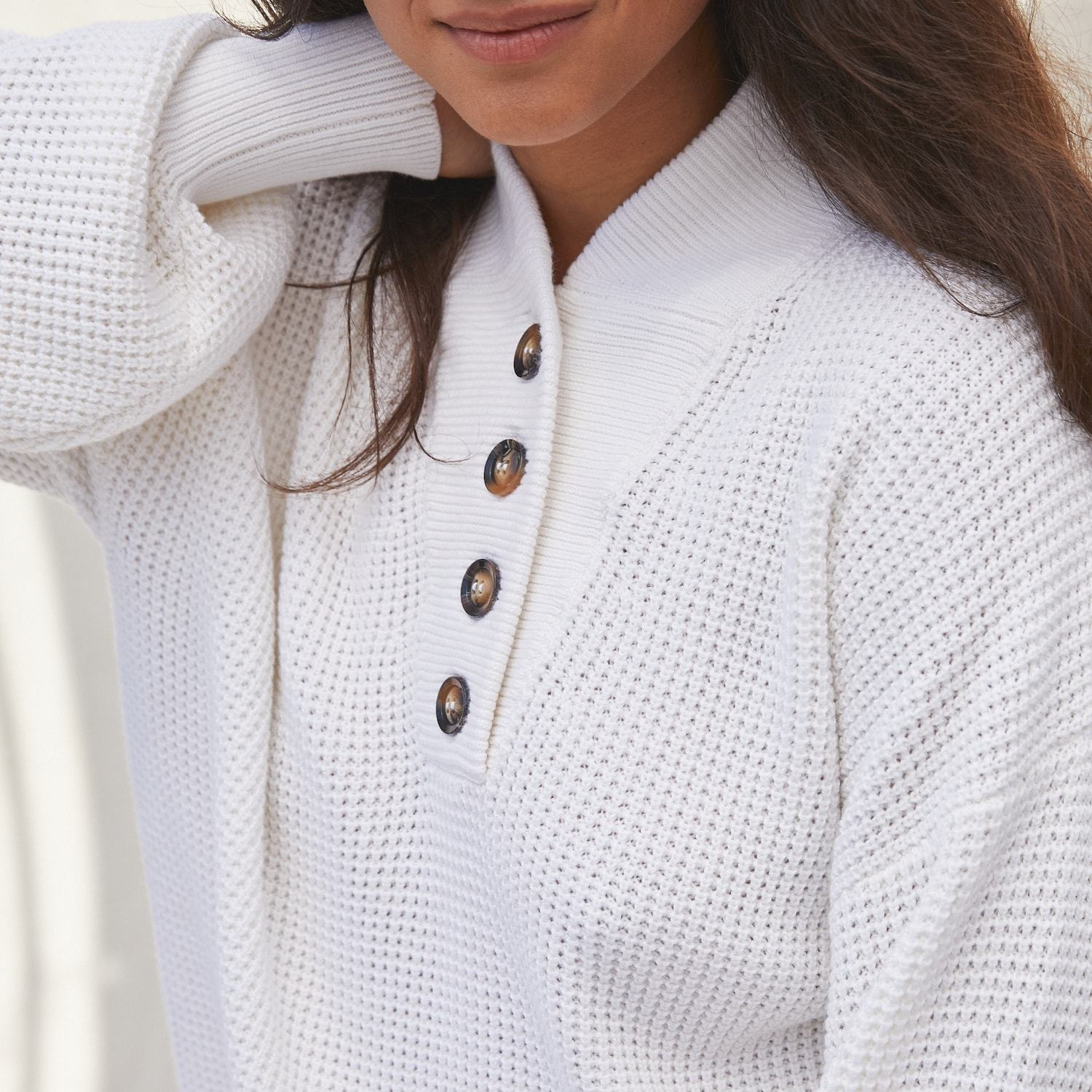 Lunya Sleepwear Cozy Cotton Silk Waffle Henley - #White