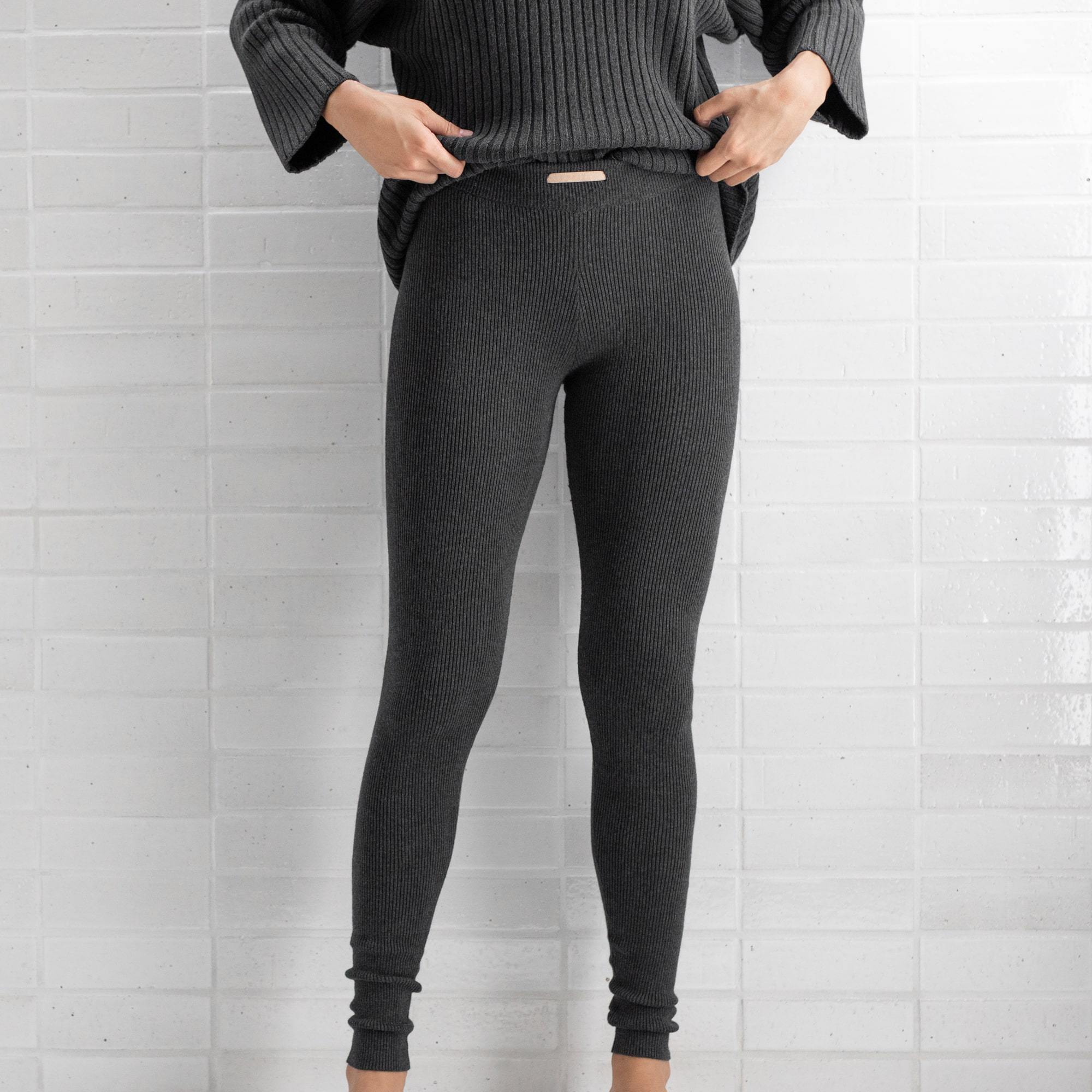 Lunya Sleepwear Cozy Pima Alpaca Ribbed Legging - #Heather Charcoal