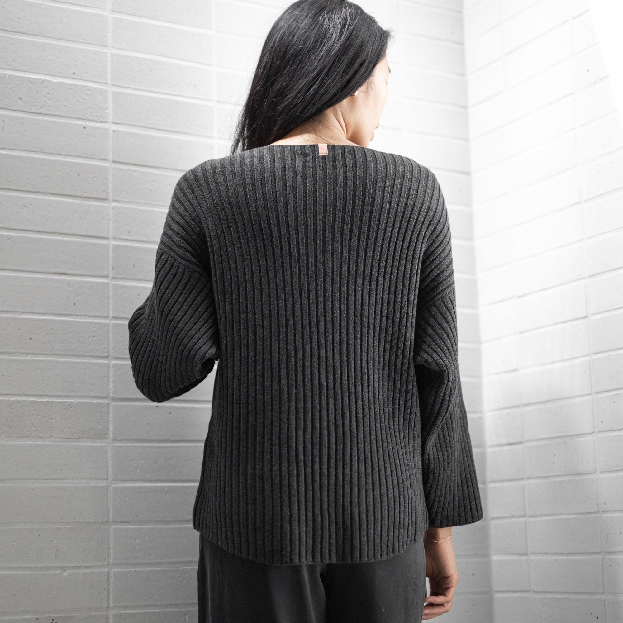 Lunya Sleepwear Cozy Pima Alpaca Ribbed Pullover - #Heather Charcoal