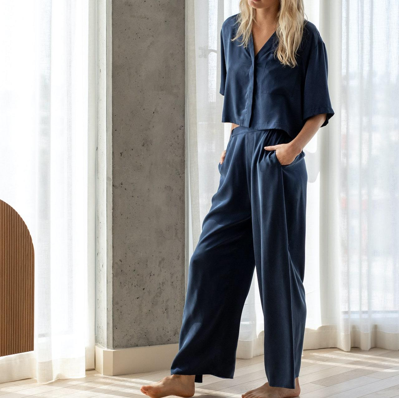 Lunya Sleepwear Washable Silk Button Down Pant Set - #Deep Blue