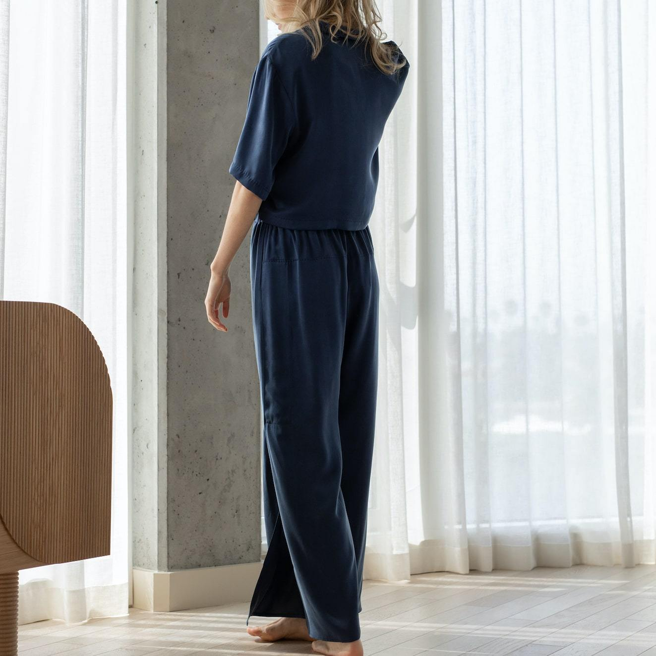 Lunya Sleepwear Washable Silk Button Down Pant Set - #Deep Night