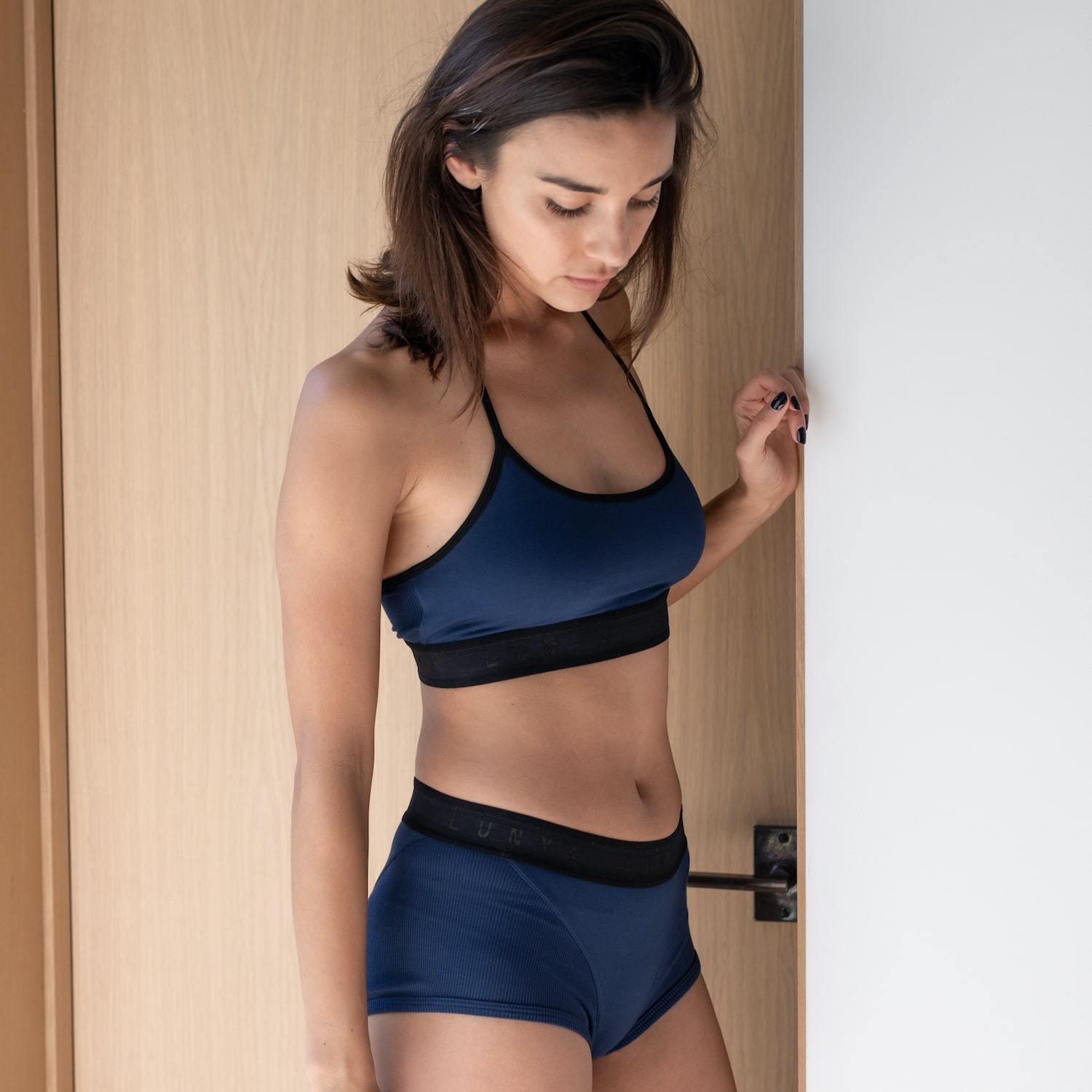 Lunya Sleepwear Supportive Modal Sleep Bralette - #Deep Night/Black