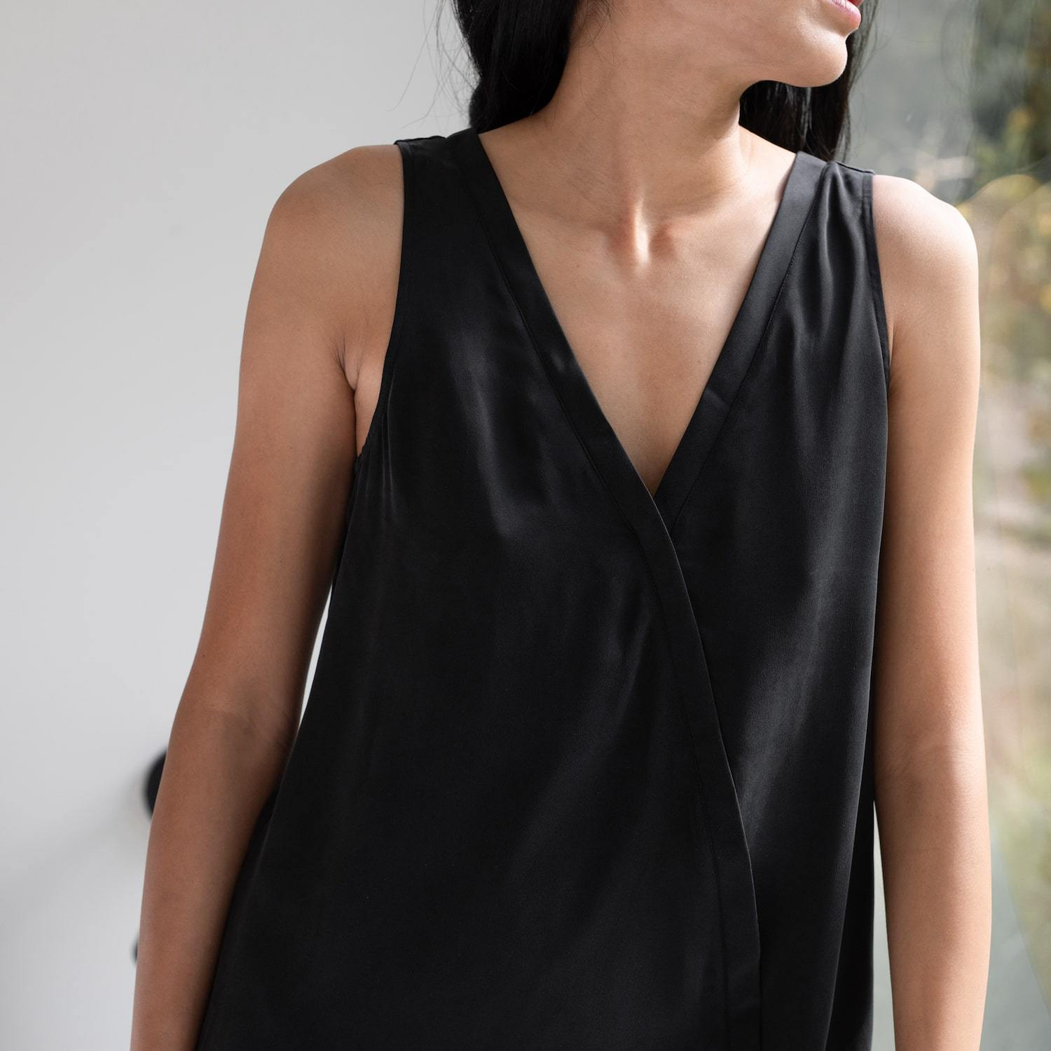 Lunya Sleepwear Washable Silk Double V Jumpsuit - #Black