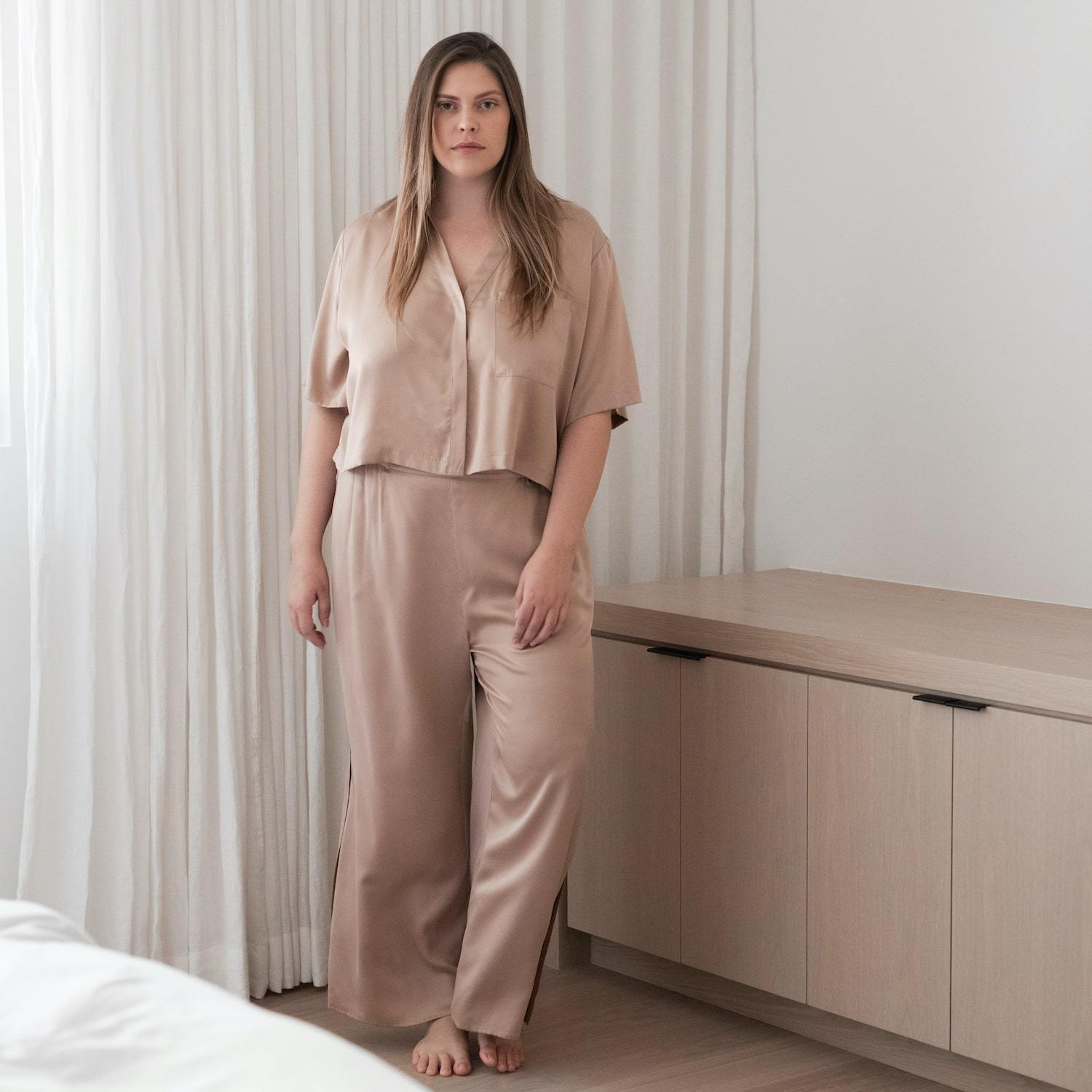 Lunya Sleepwear Washable Silk Button Down Pant Set - #Bare/Otium Tan - Size:XL2,XL3@back