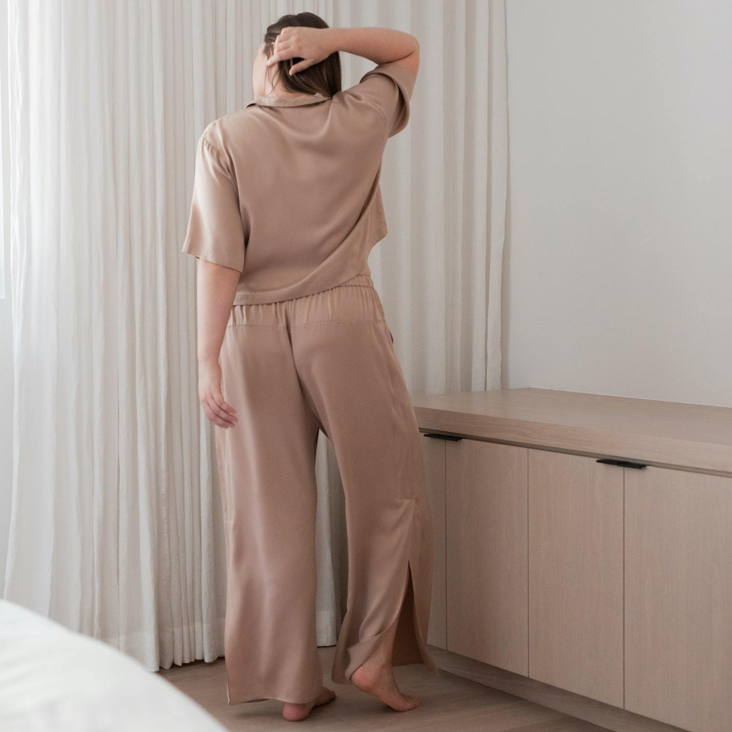 Lunya Sleepwear Washable Silk Button Down Pant Set - #Bare - Size:XL2,XL3@back