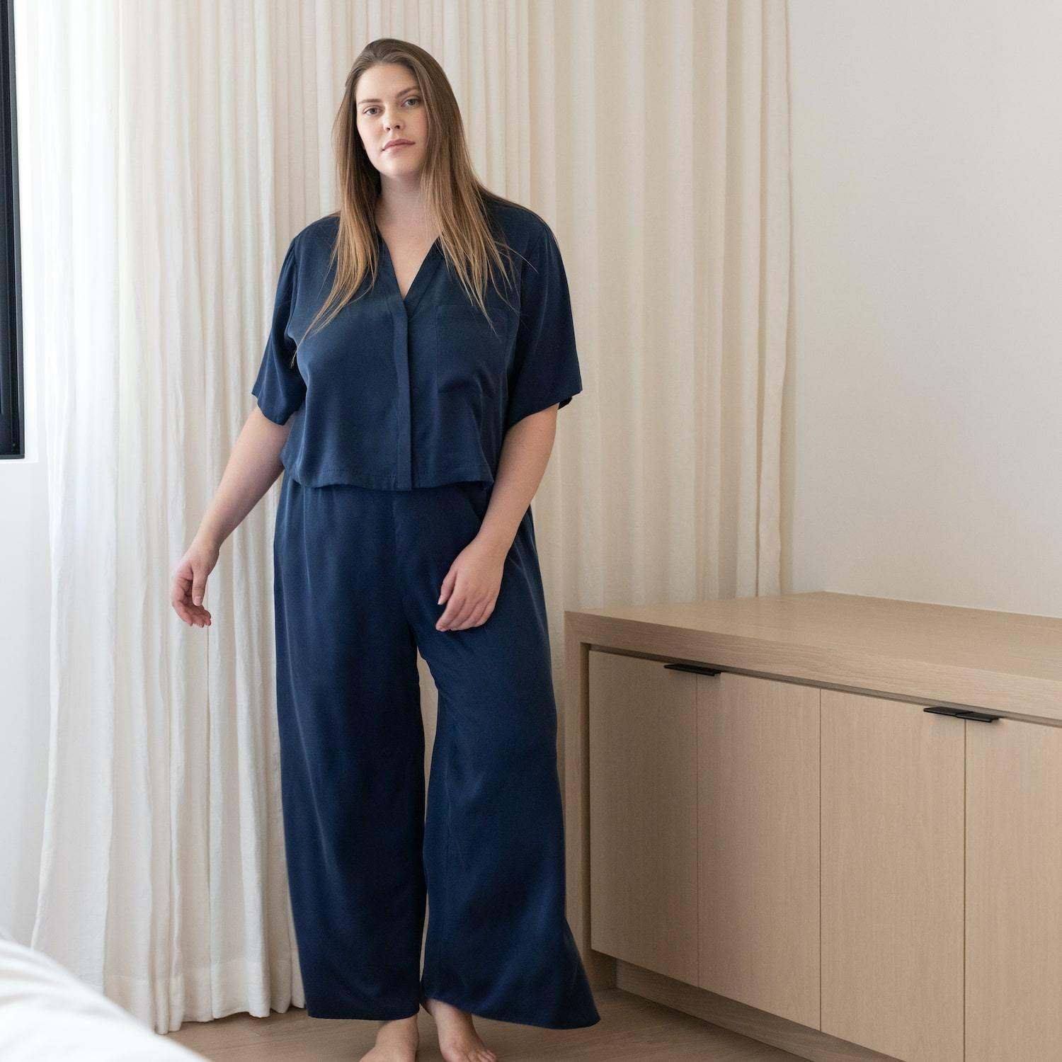 Lunya Sleepwear Washable Silk Button Down Pant Set - #Deep Night - Size:XL2,XL3@back