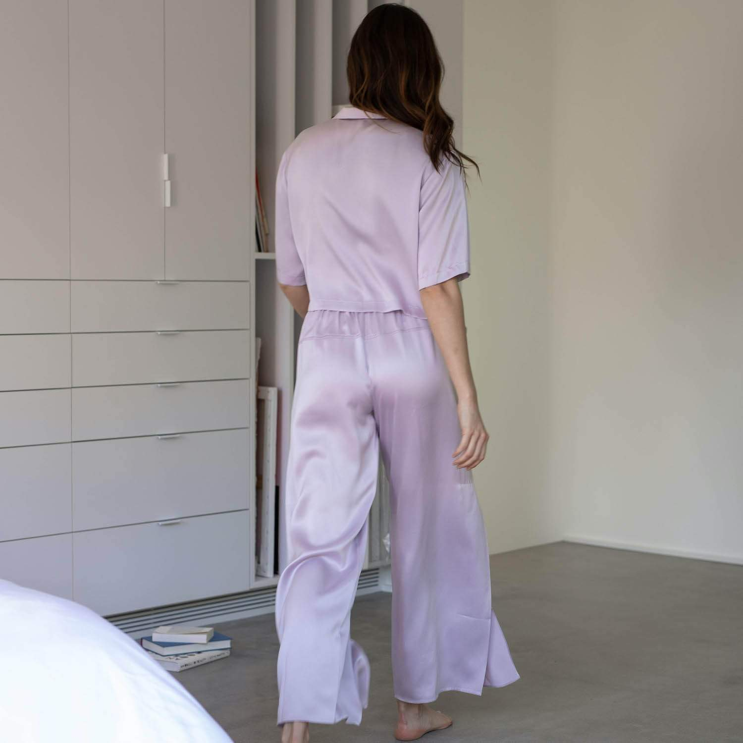 Lunya Sleepwear Washable Silk Button Down Pant Set - #Mist