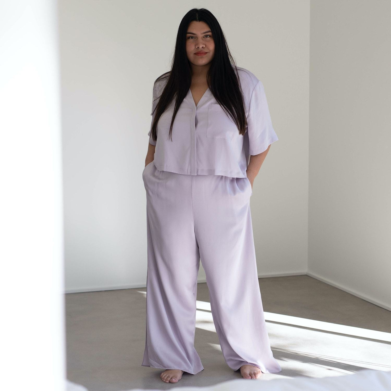 Lunya Sleepwear Washable Silk Button Down Pant Set - #Mist - Size:XL2,XL3@back