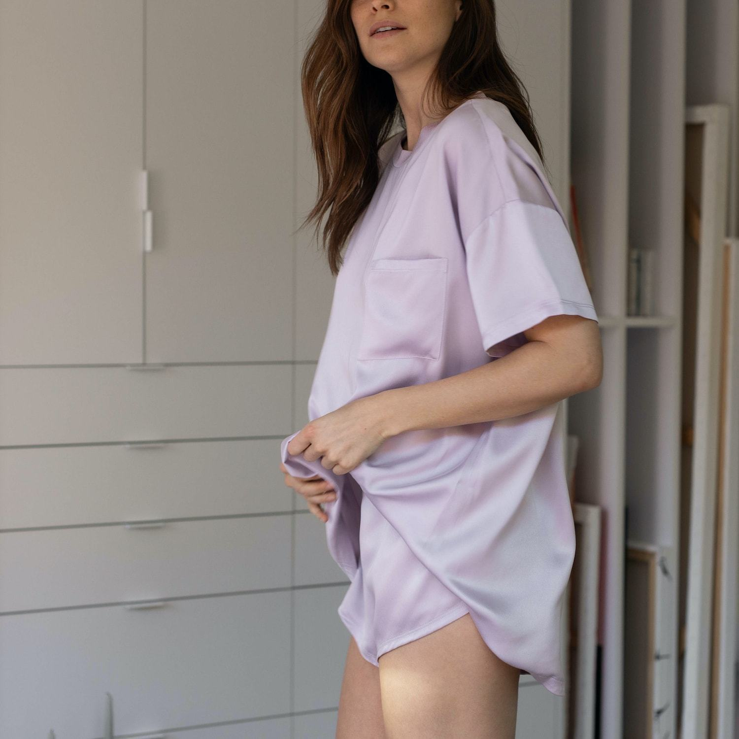Lunya Sleepwear Washable Silk Tee Set - #Mist
