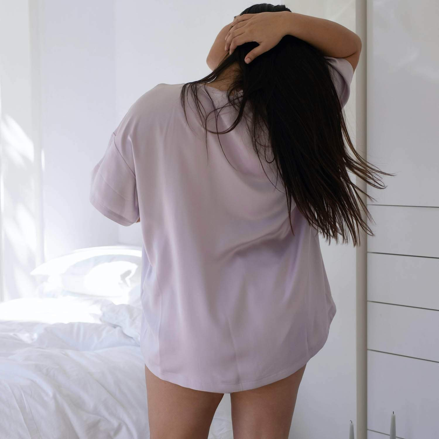 Lunya Sleepwear Washable Silk Tee Set - #Mist - Size:XL2,XL3@back