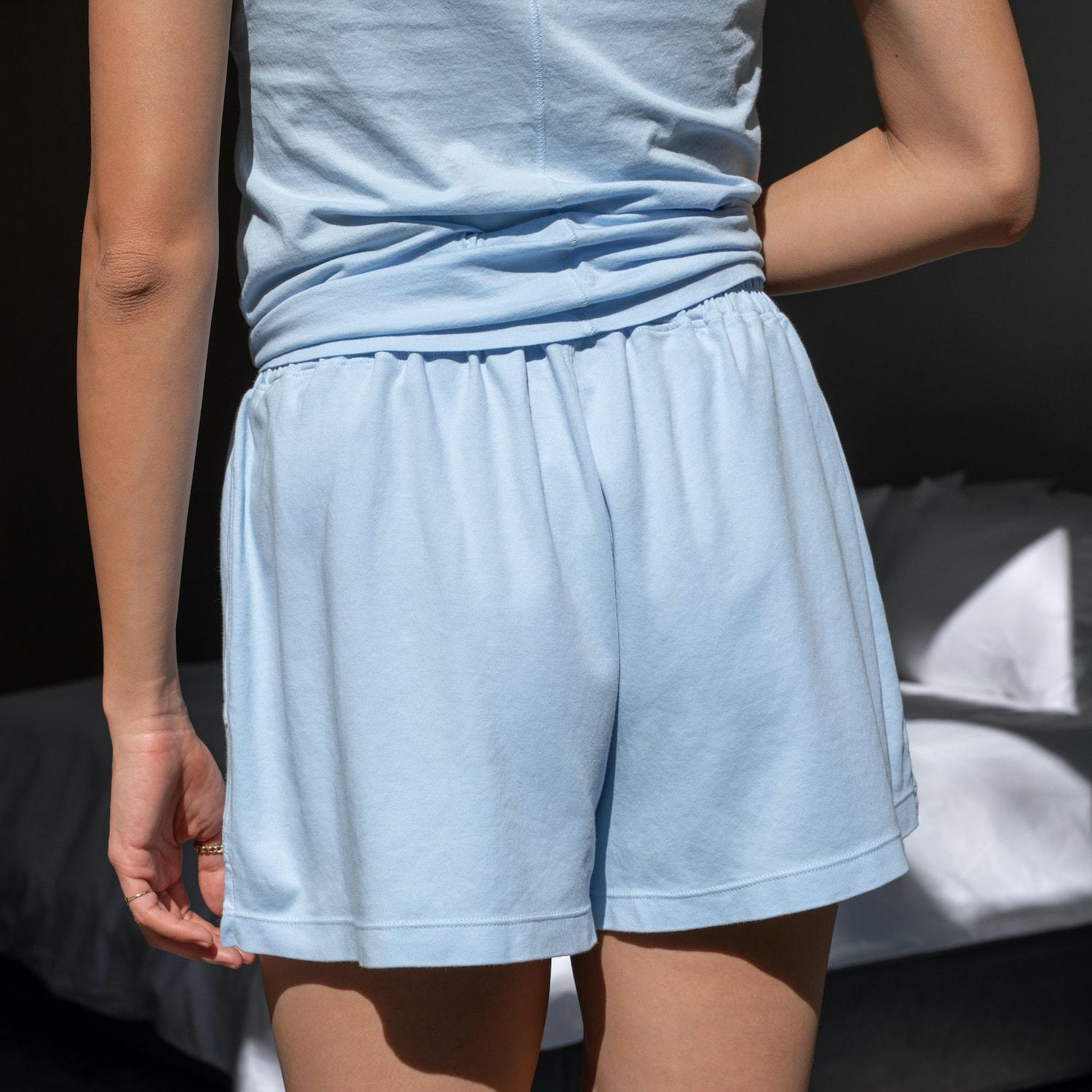 Lunya Sleepwear Organic Pima High Rise Short - #Faded Shore