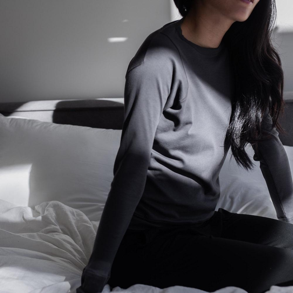 Lunya Sleepwear Organic Pima Long Sleeve Tee - #Eclipse