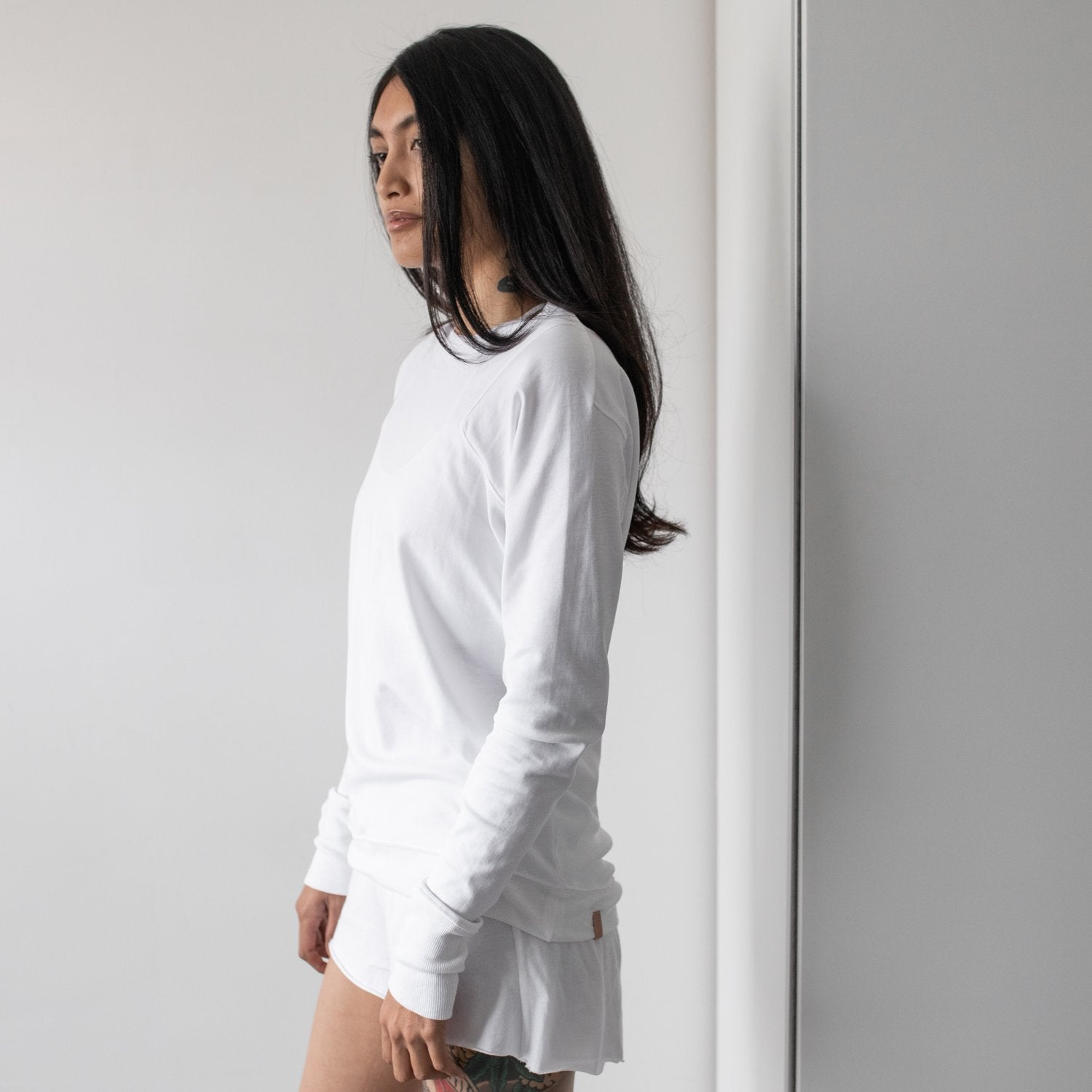 Lunya Sleepwear Organic Pima Long Sleeve Tee - #White