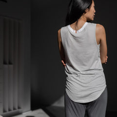 Lunya Sleepwear Organic Pima Muscle Tee - #Cloud/Sincere White
