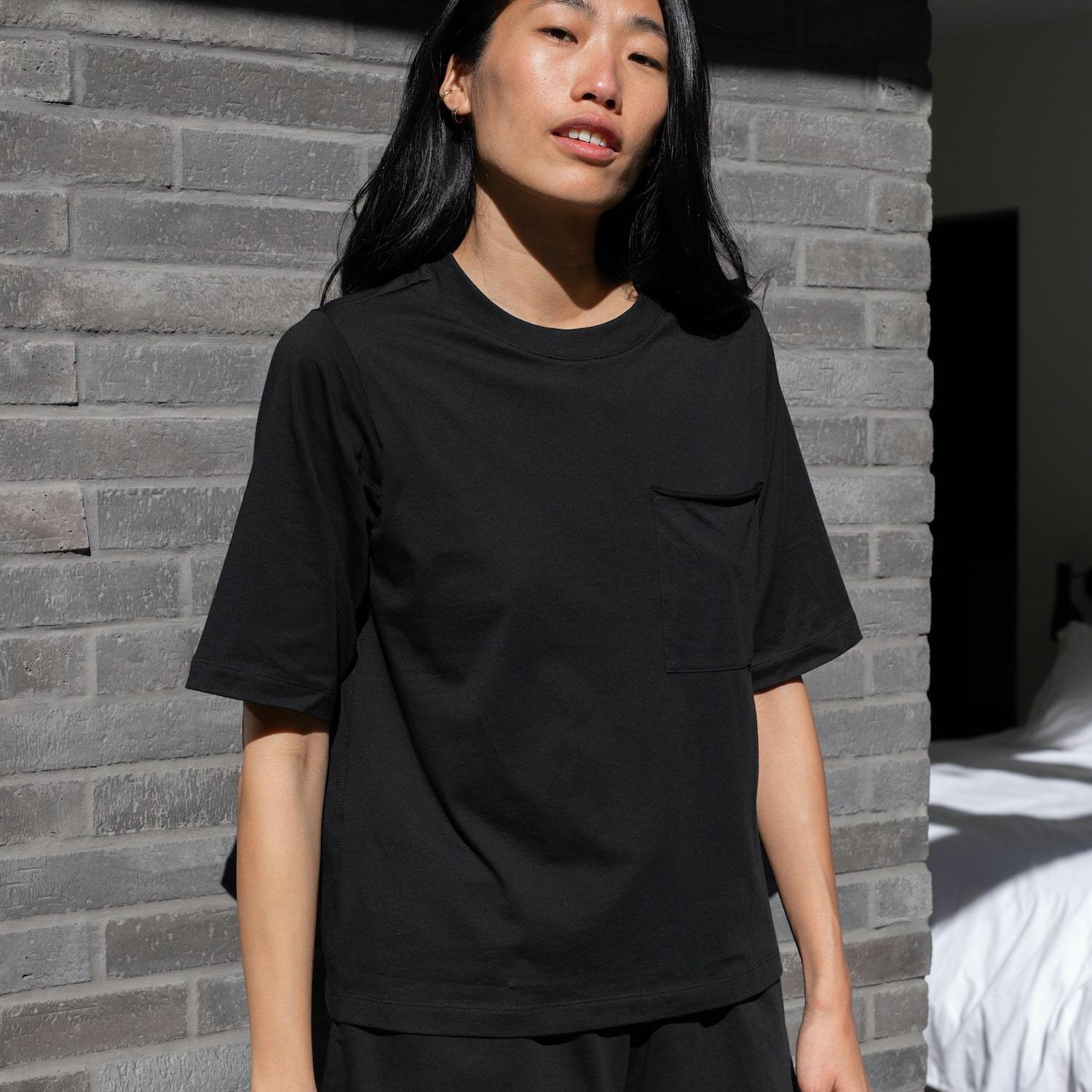 Lunya Sleepwear Organic Pima Pocket Tee - #Black