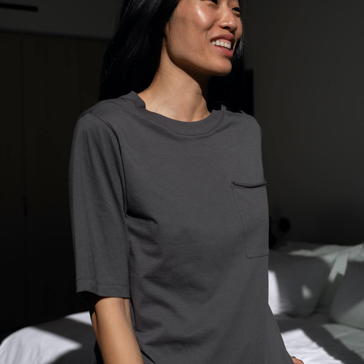 Lunya Sleepwear Organic Pima Pocket Tee - #Eclipse