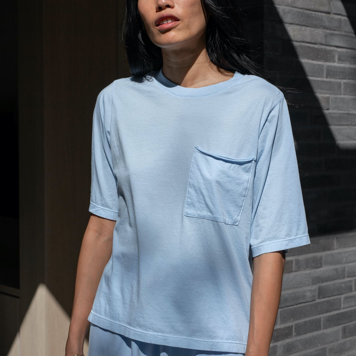 Lunya Sleepwear Organic Pima Pocket Tee - #Faded Shore