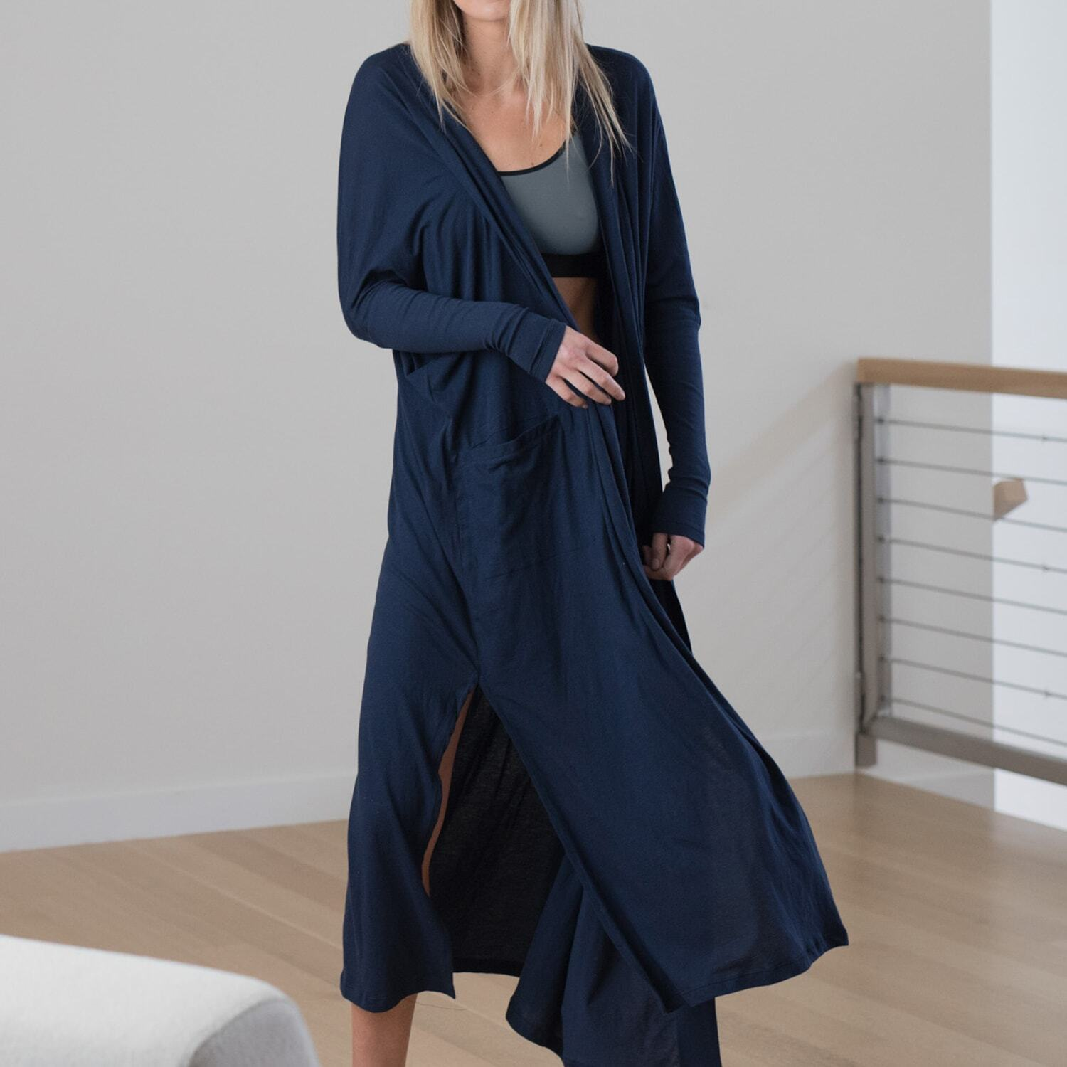 Lunya Sleepwear Pima Long Cardigan - #Deep Night