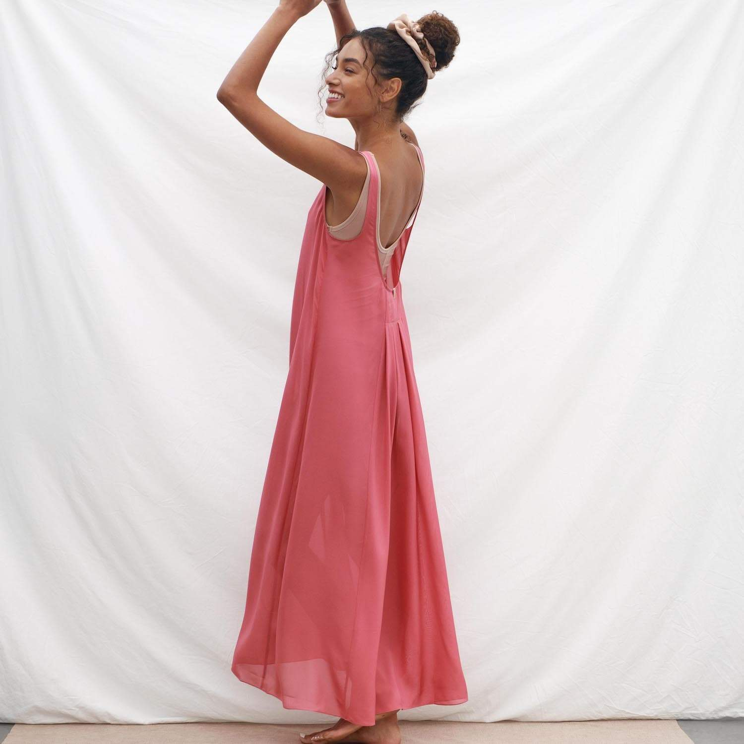 Lunya Sleepwear Prima Silk Chiffon Overlay Dress - #Rose Petal