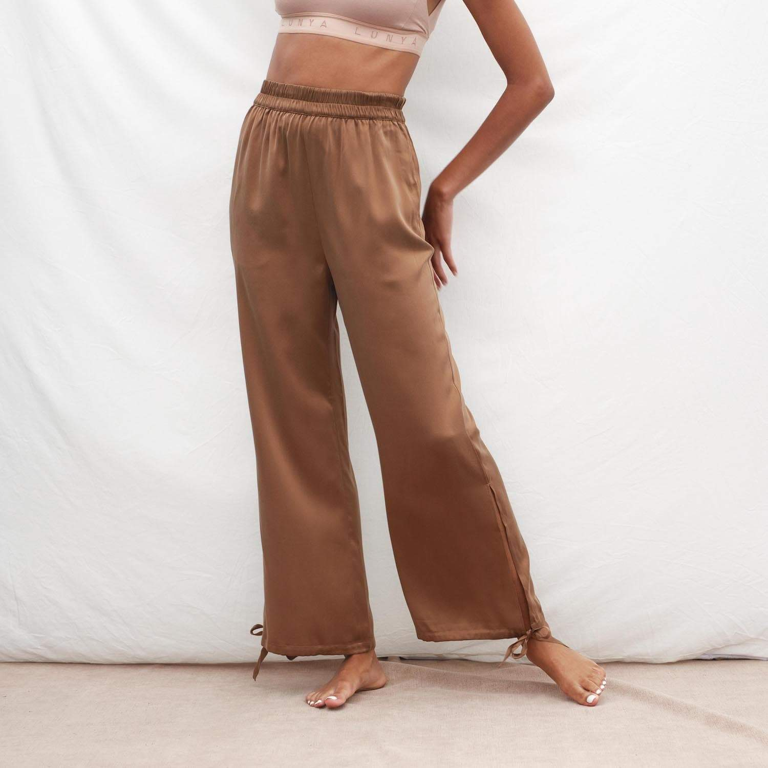 Lunya Sleepwear Prima Washable Silk Pant - #Walnut