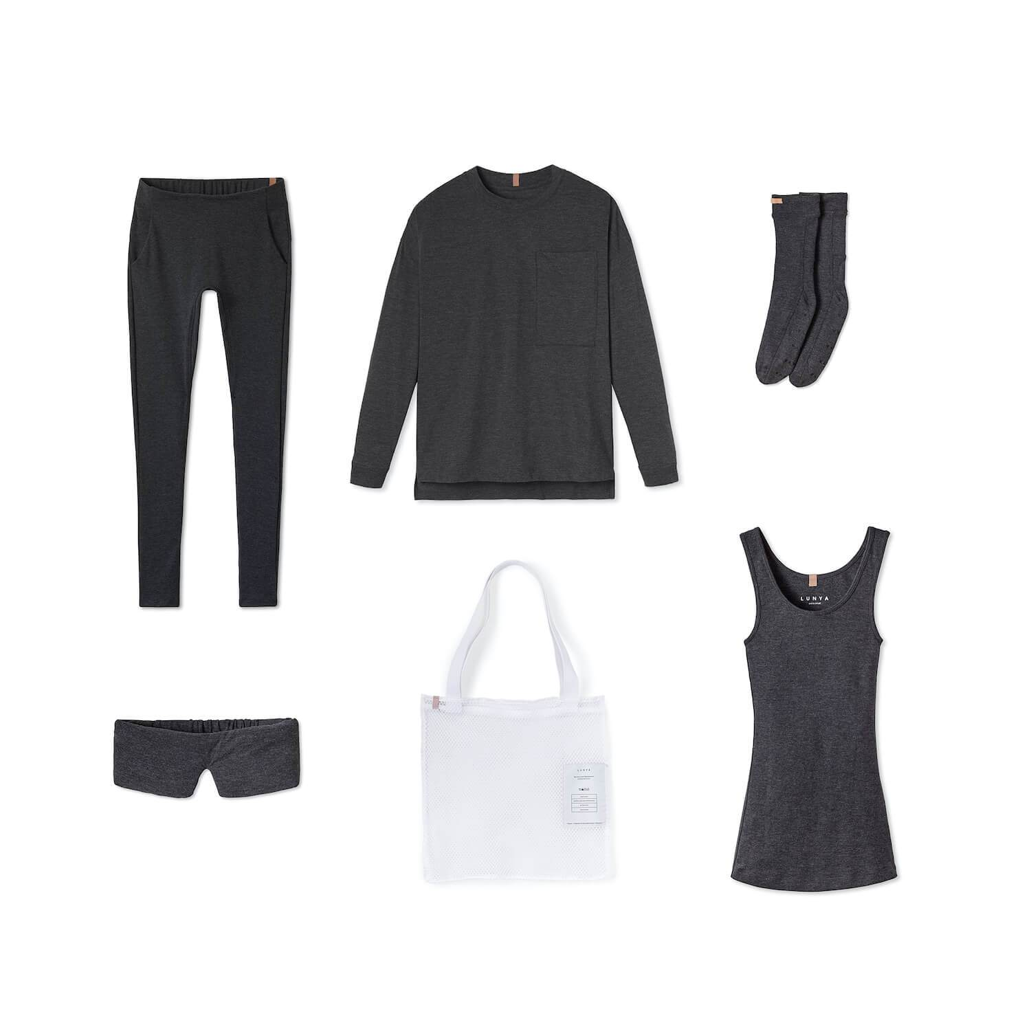 Lunya Sleepwear Restore Pima Travel Kit - #Charcoal
