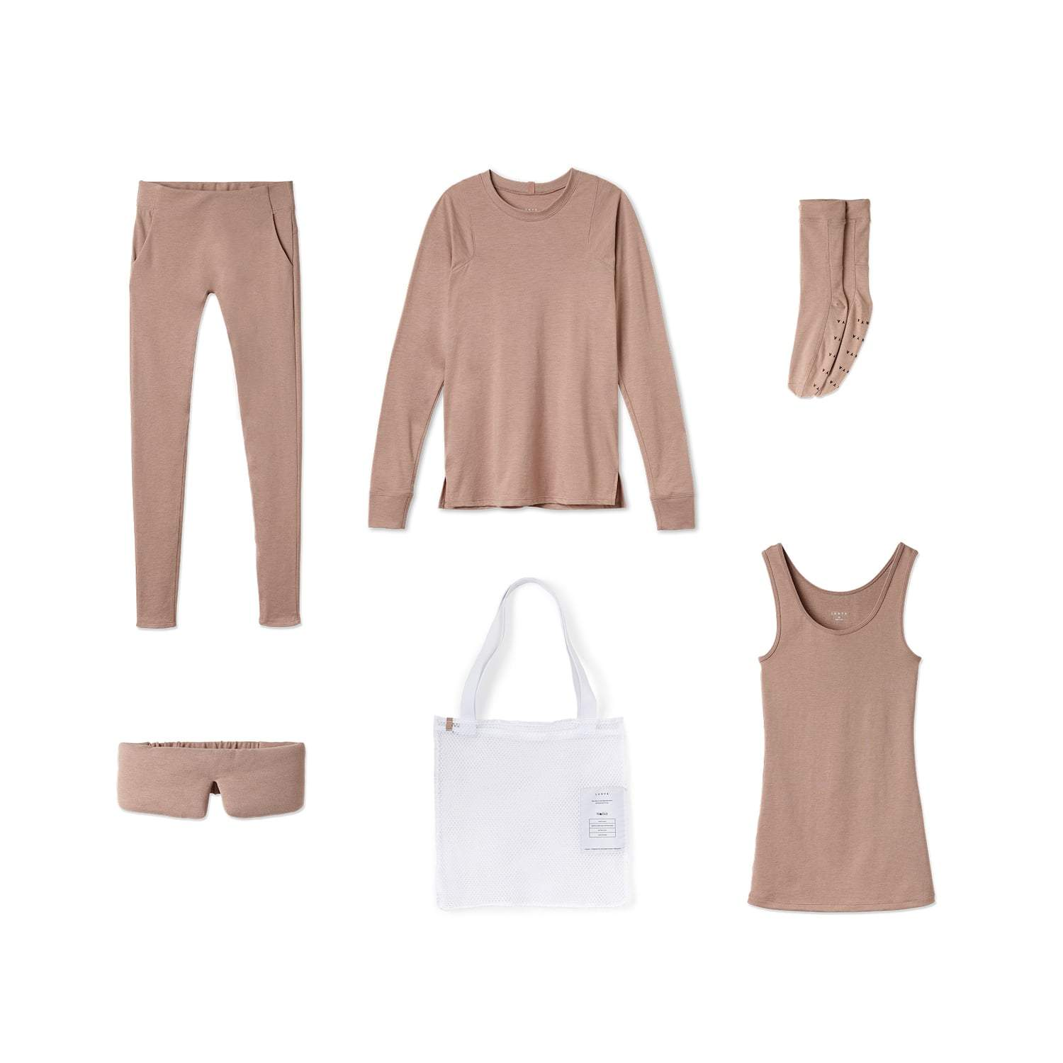 Lunya Sleepwear Restore Pima Travel Kit - #Bare